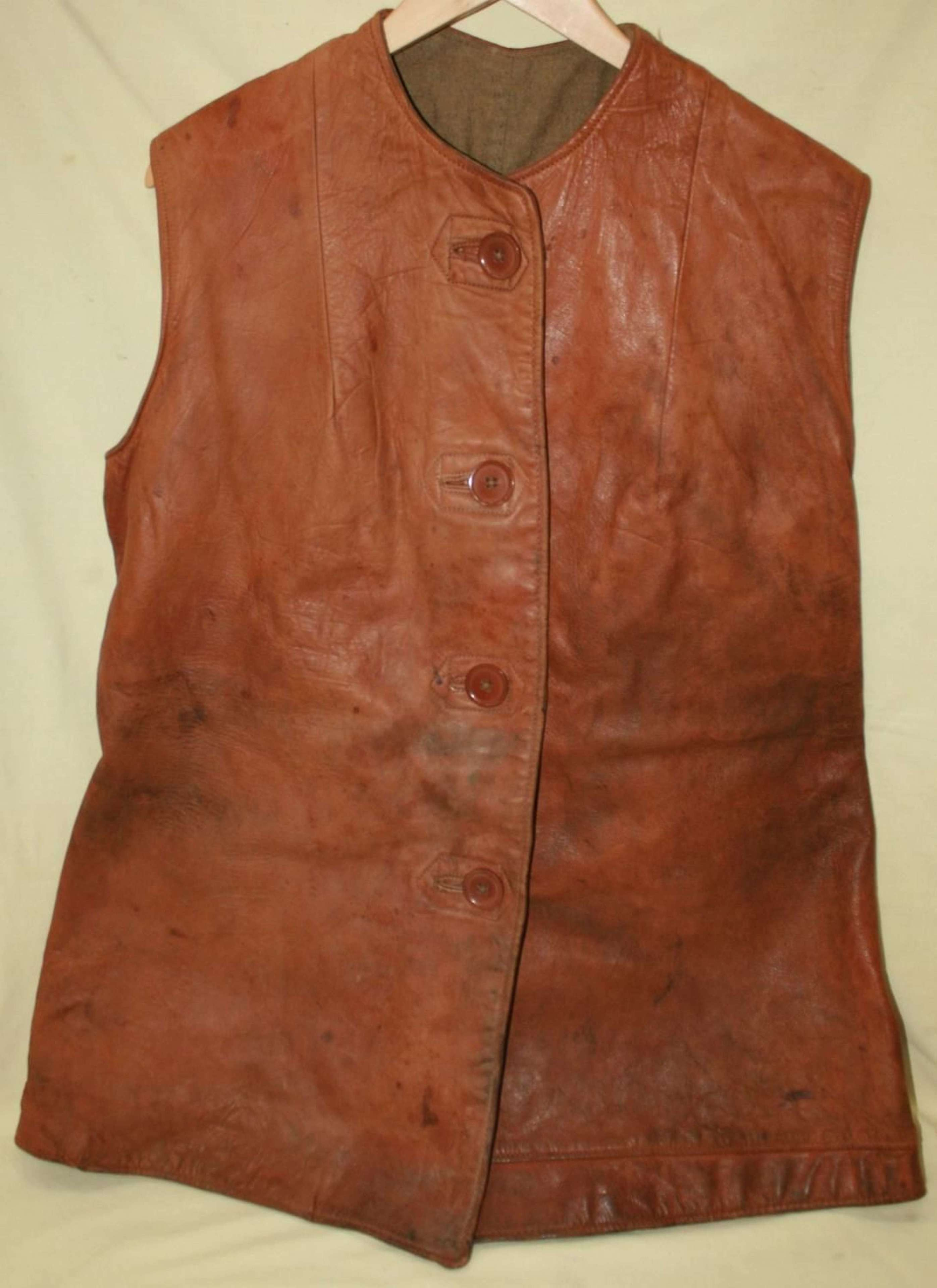 A WWII 1942 DATED ATS LEATHER JERKIN