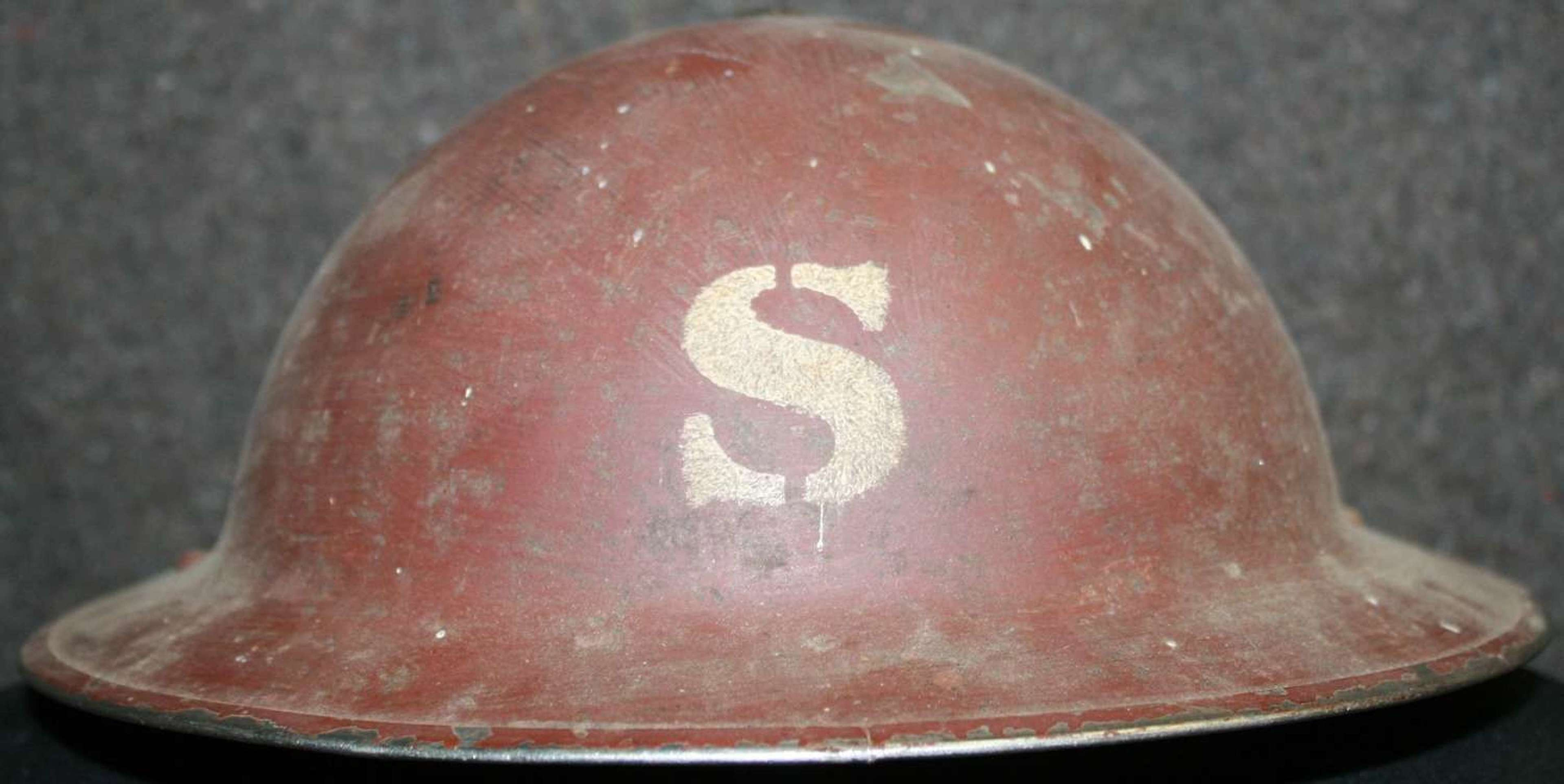 A WWII BRITISH HOME FRONT HELMET WITH A S TO FRONT