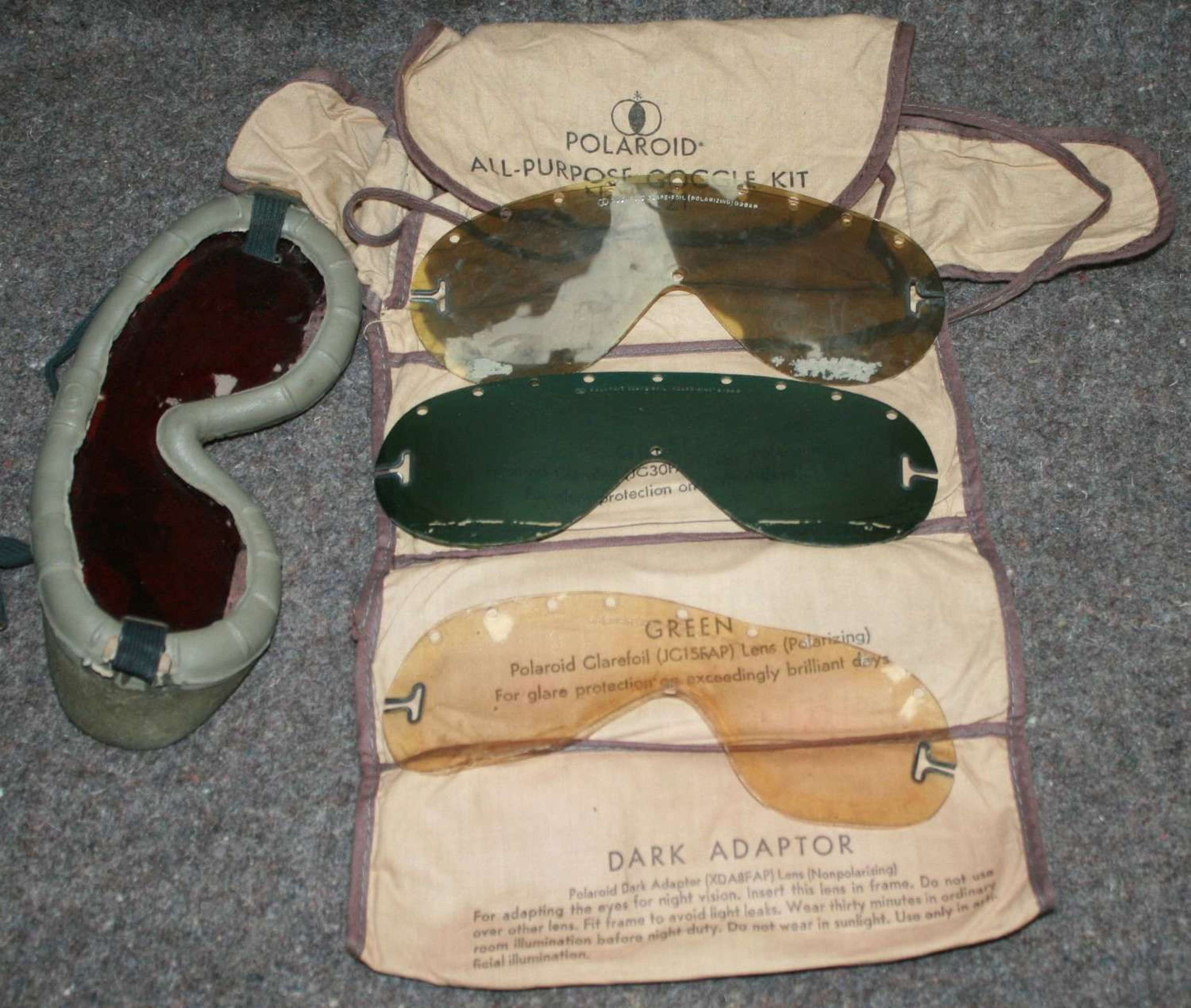 A WWII US ARMY USED PAIR OF THE POLAROID GOGGLES