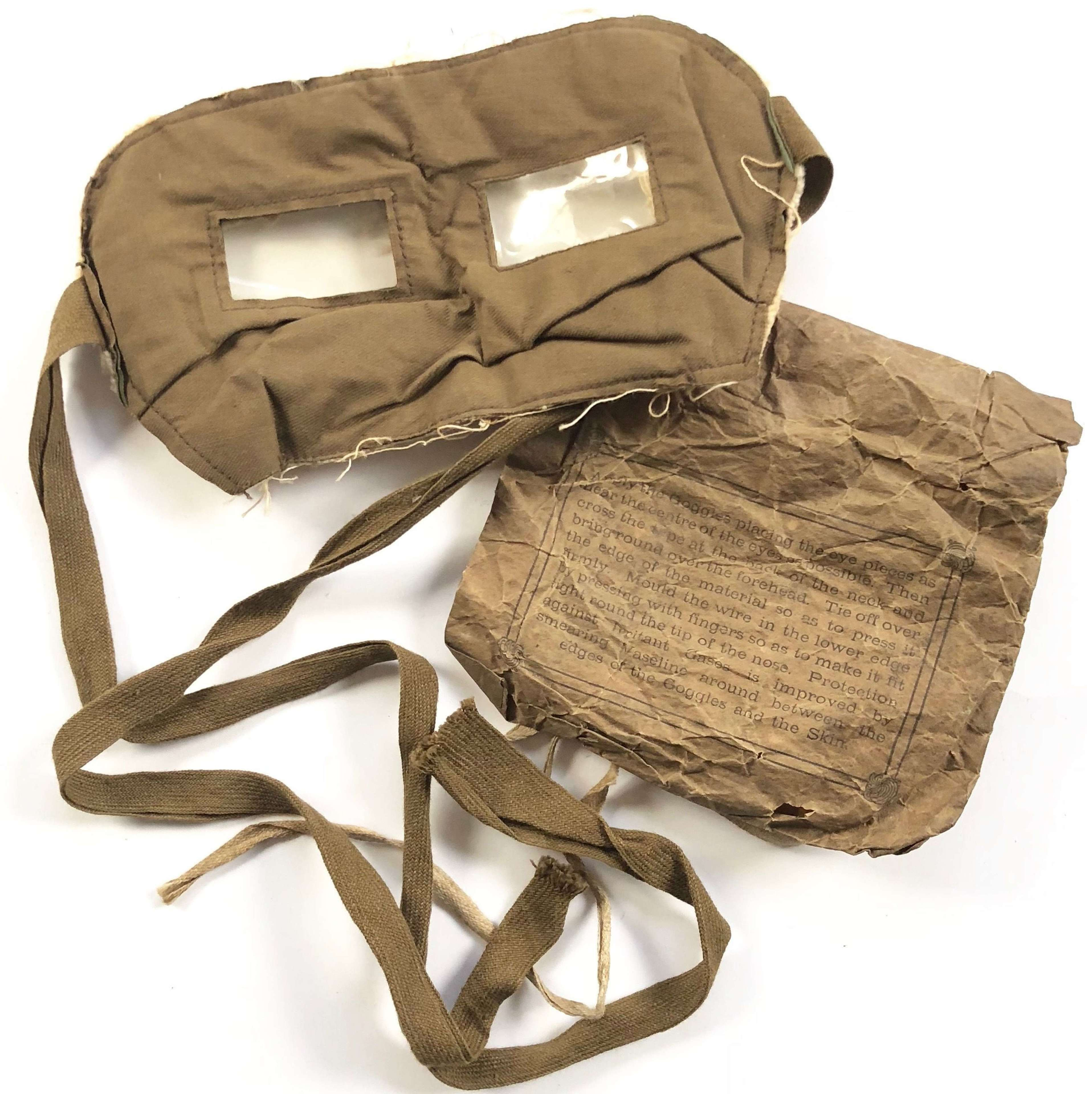 WW1 British Anti Gas Goggles & Packet.