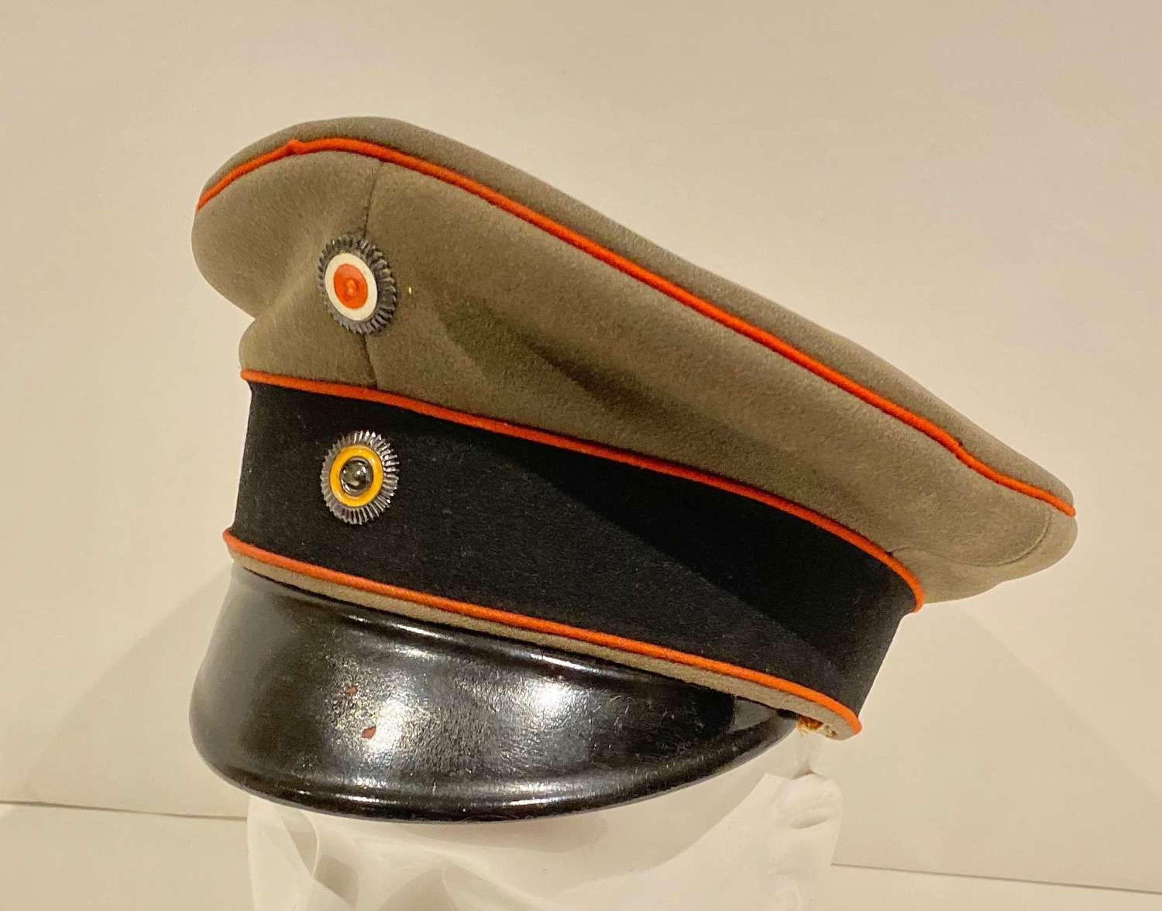 WW1 Imperial German Prussian Officer's Field Grey Cap.