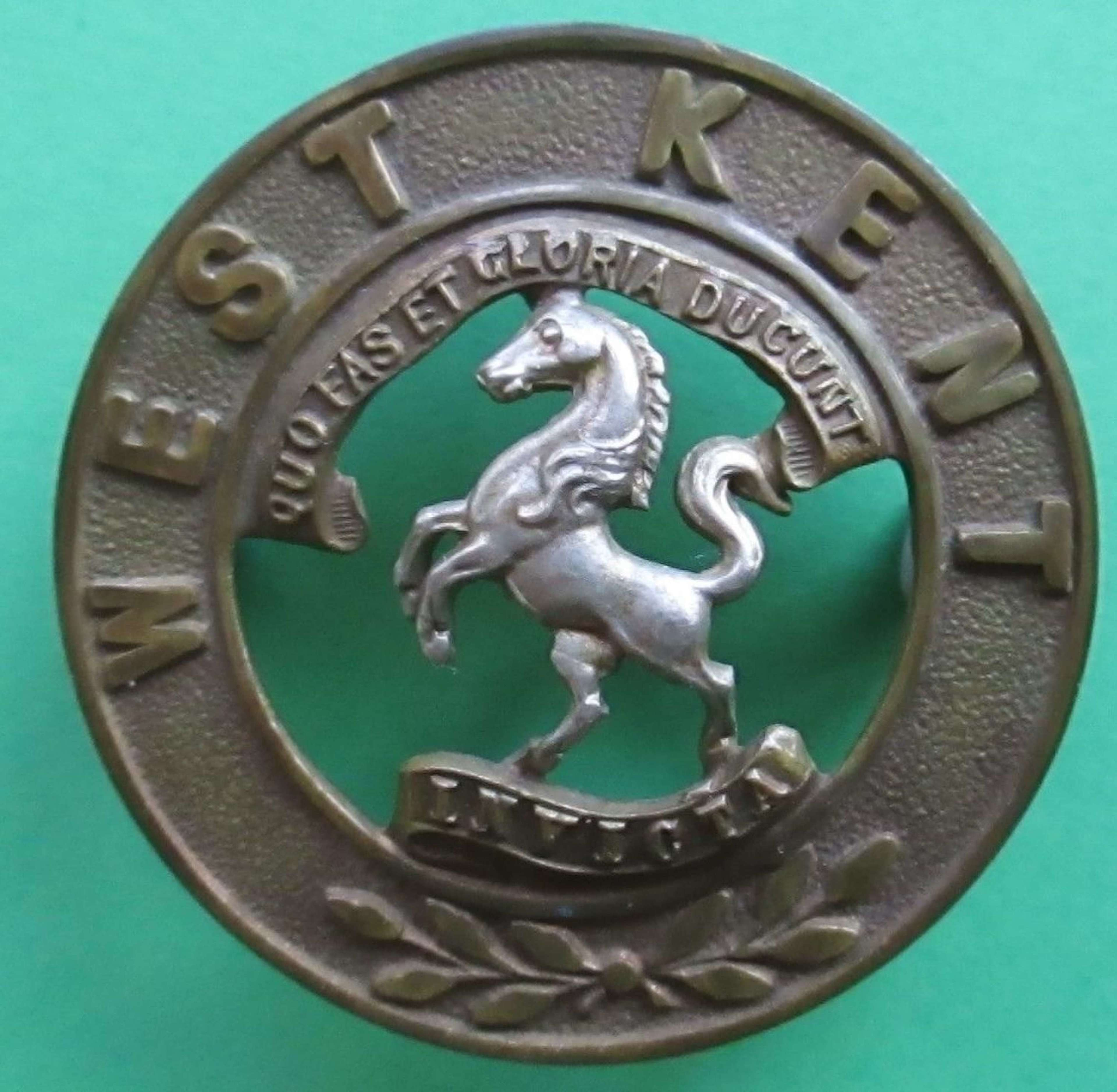 A ROYAL WEST KENT OTHER RANKS HELMET PLATE CENTRE