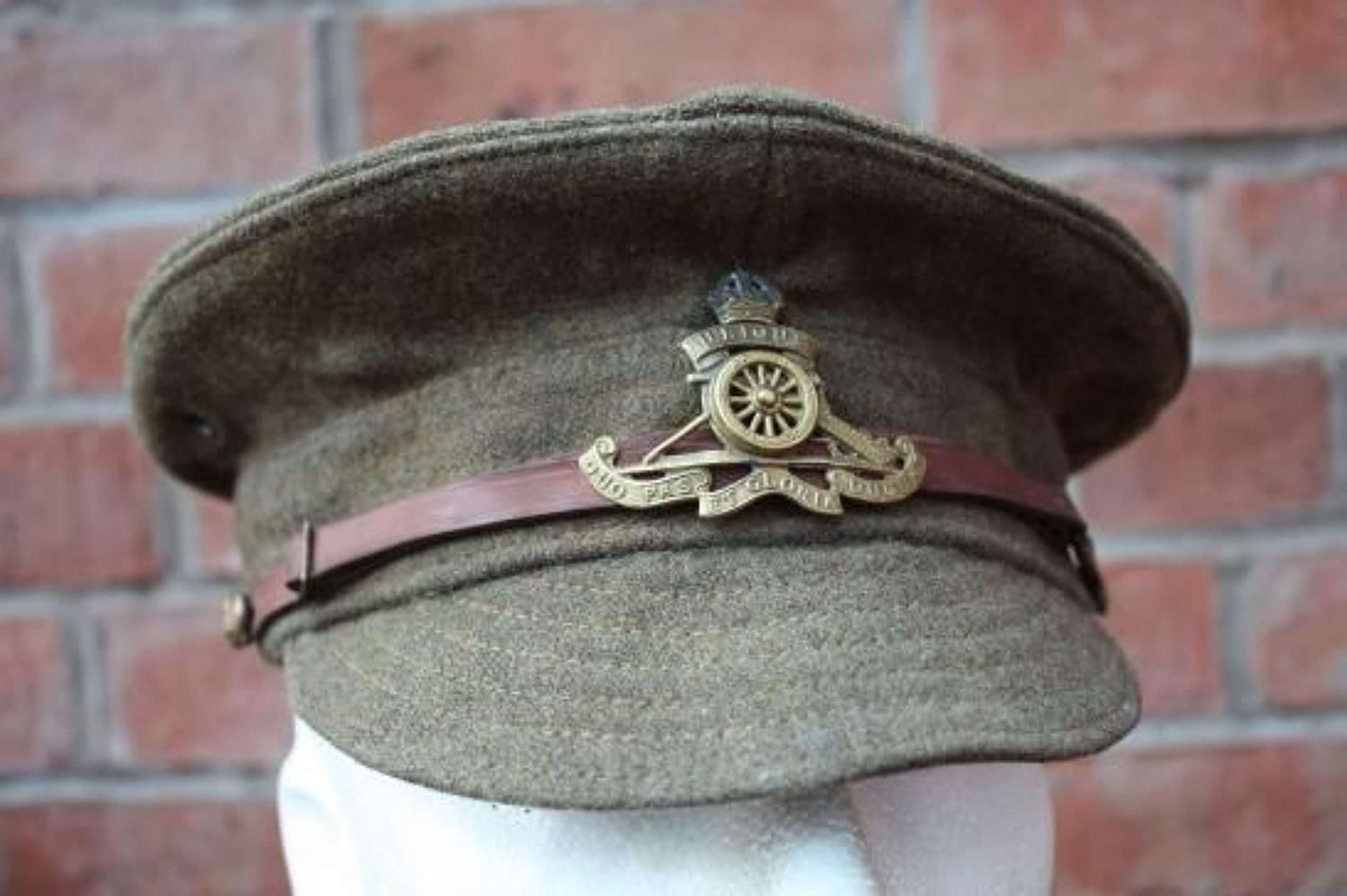 BRITISH 1918 DATED WW1 OTHER RANKS WOOL TRENCH CAP ROYAL ARTILLERY