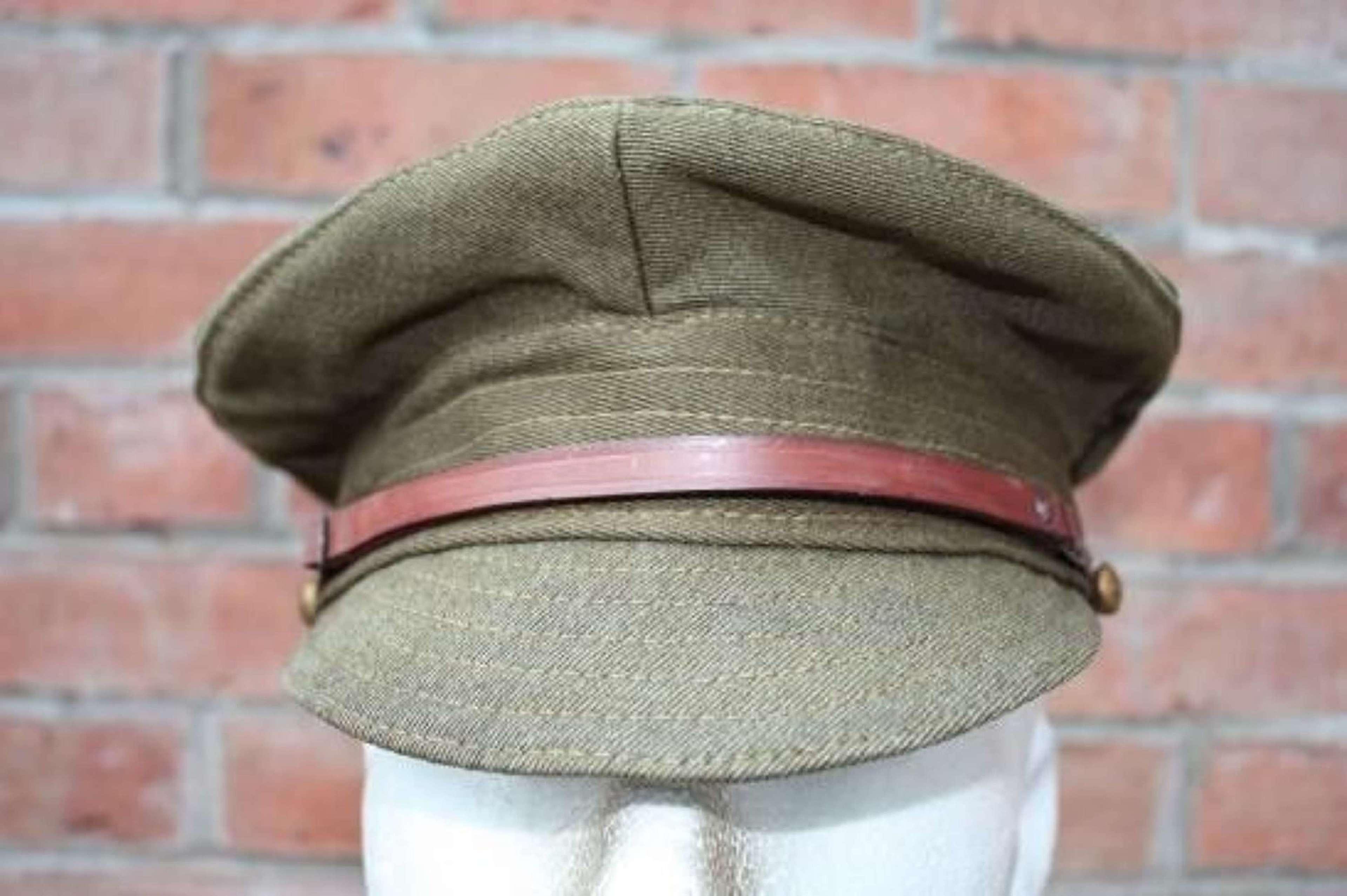 BRITISH ARMY 1918 DATED WW1 KHAKI DENIM TRENCH CAP