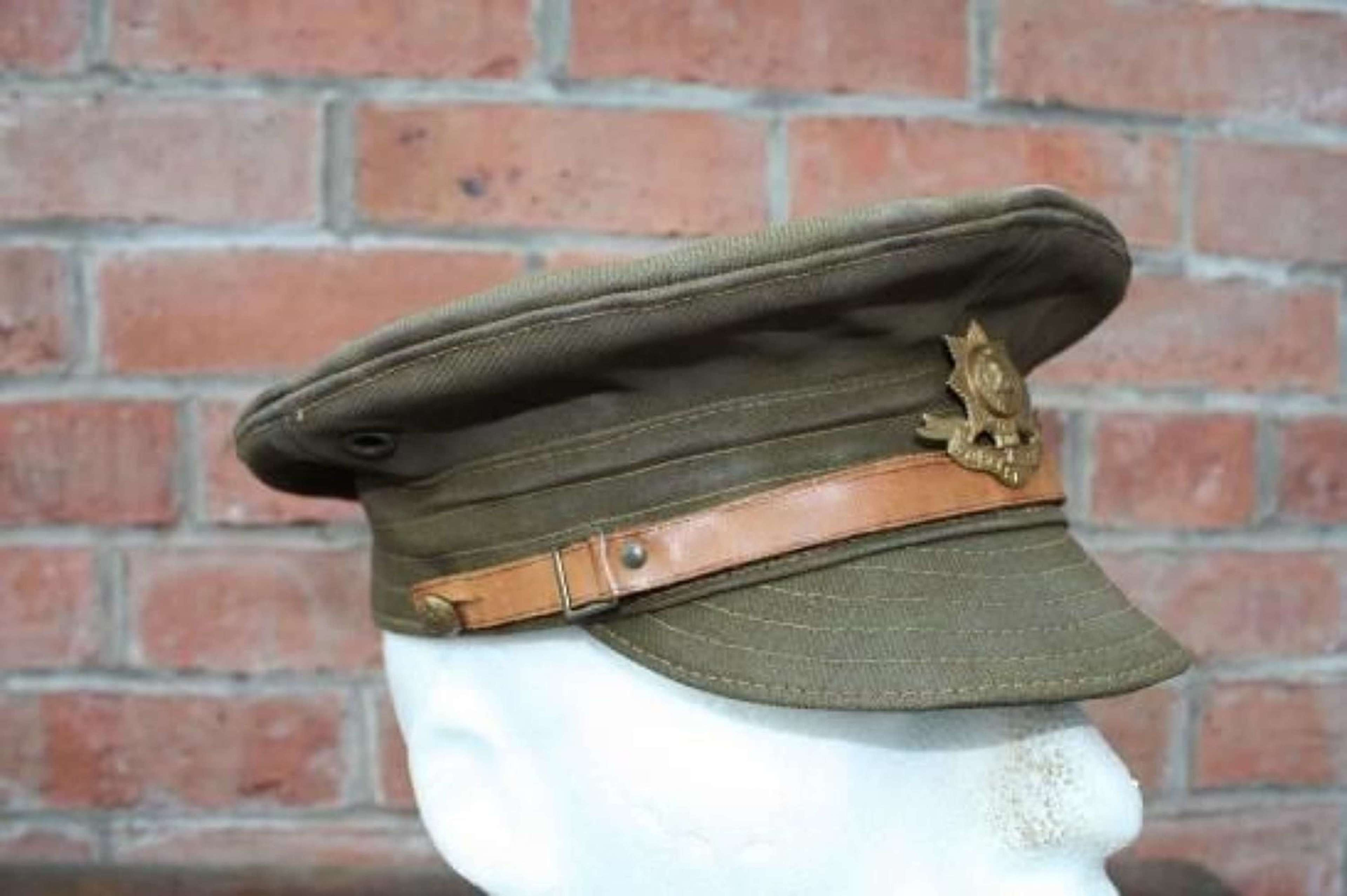 BRITISH ARMY WW1 KHAKI DENIM TRENCH CAP