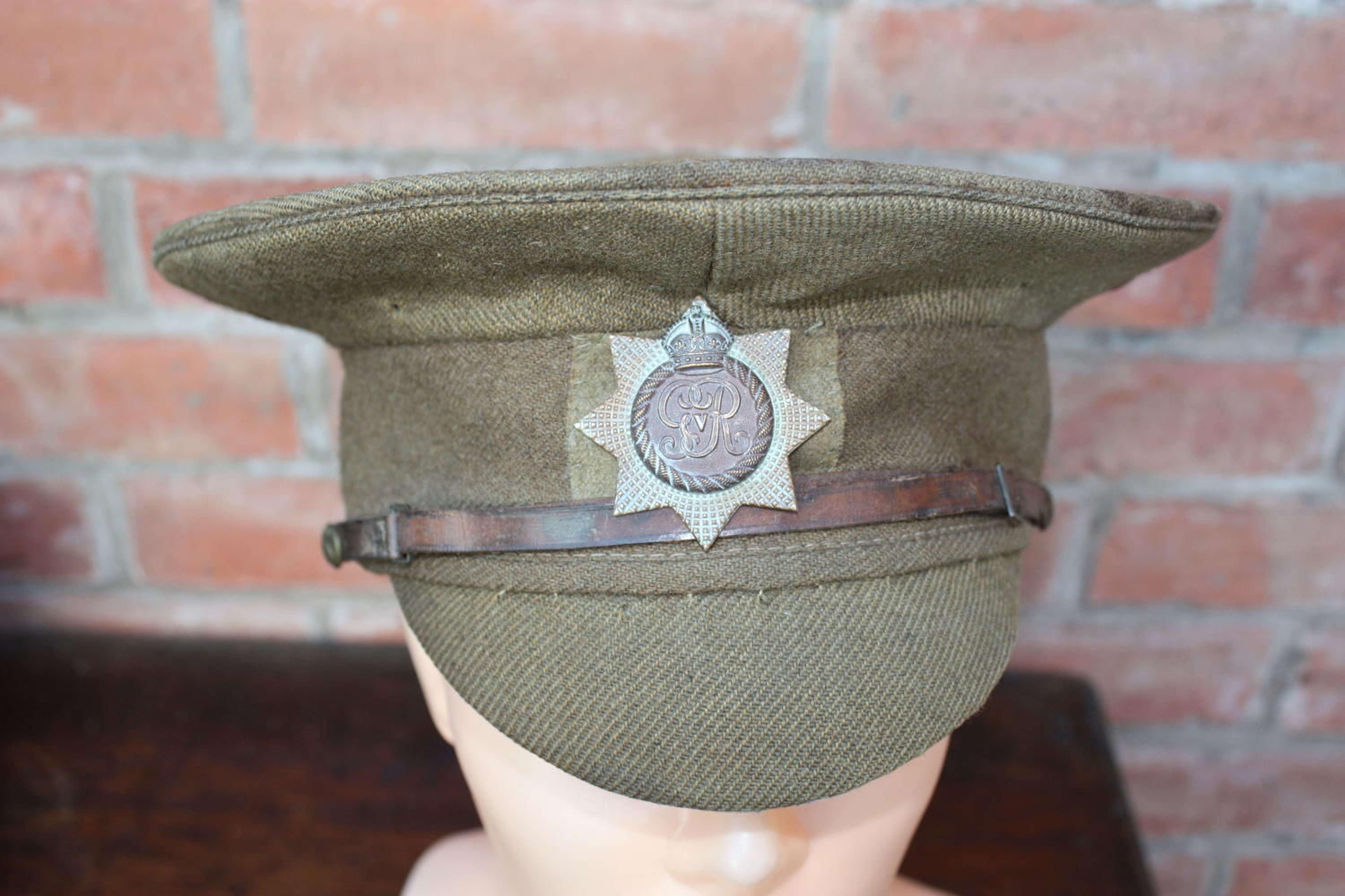RARE CANADIAN WW1 1905 PATTERN KHAKI OTHER RANKS SERVICE DRESS CAP