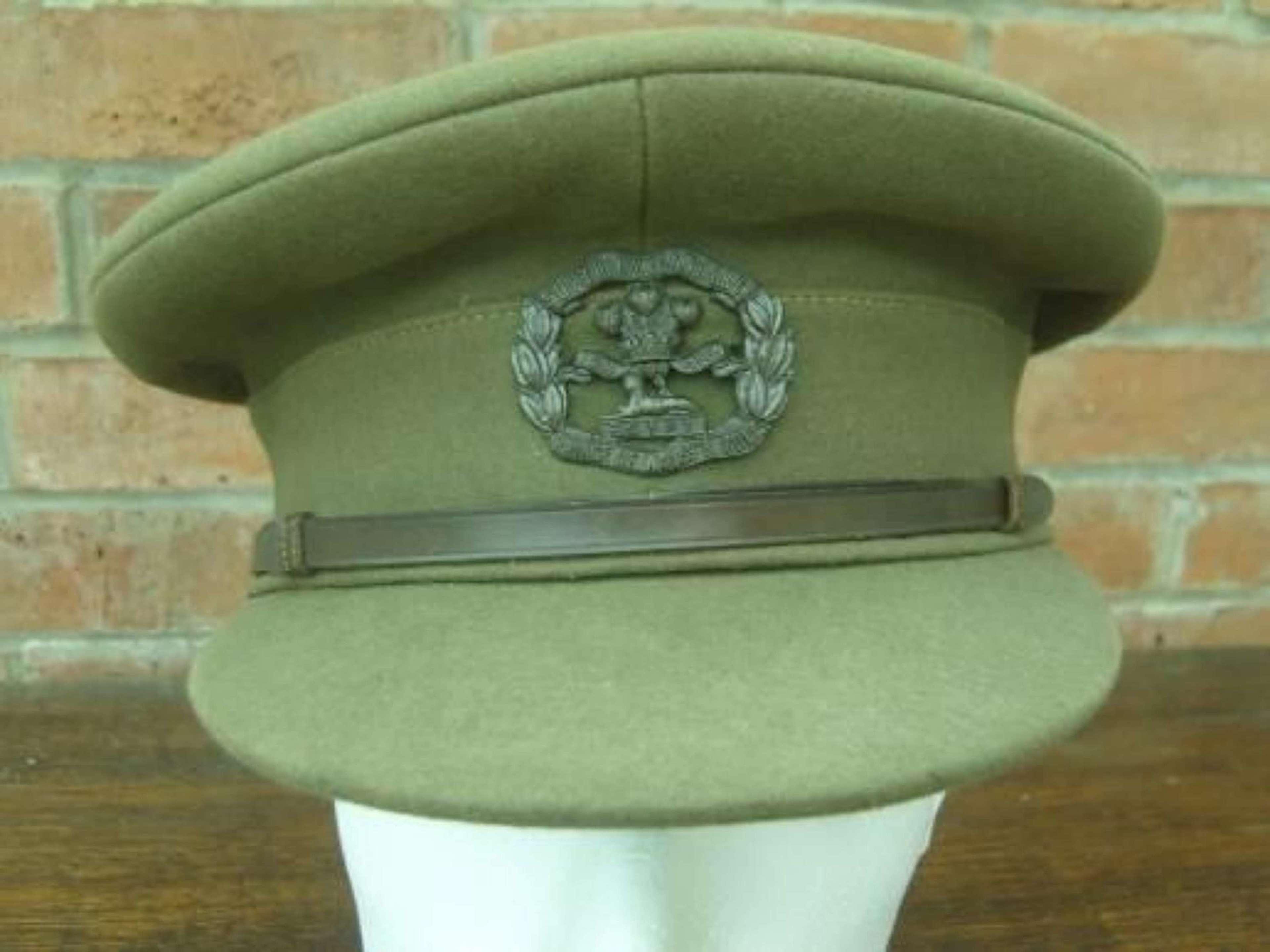 WW1 British Army Officers Khaki Service Dress Cap South Lancashire