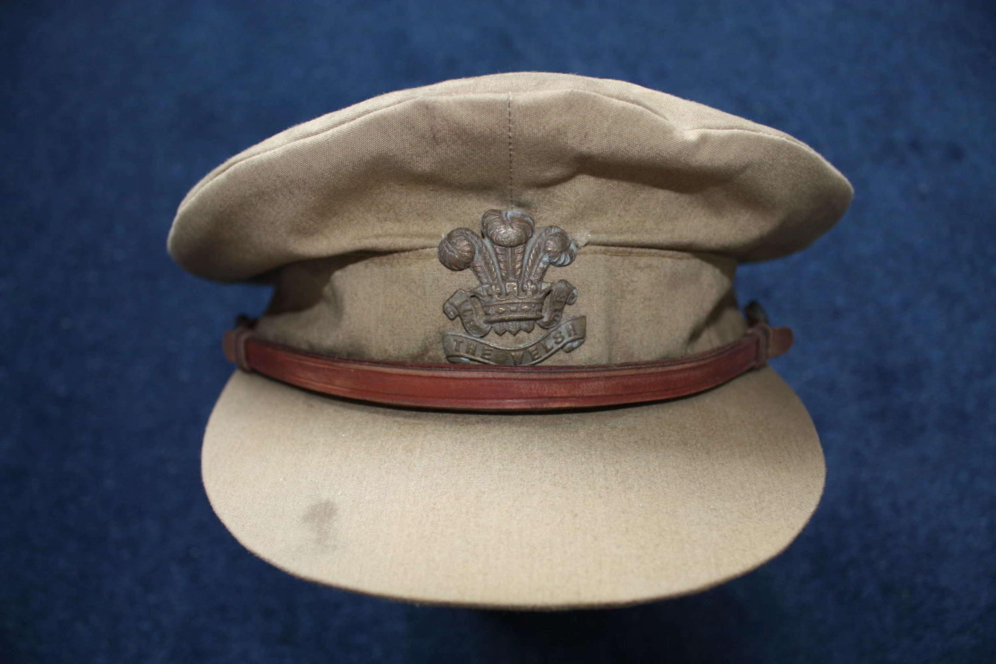 WW1 British Officers lightweight trench cap.Welsh Regiment