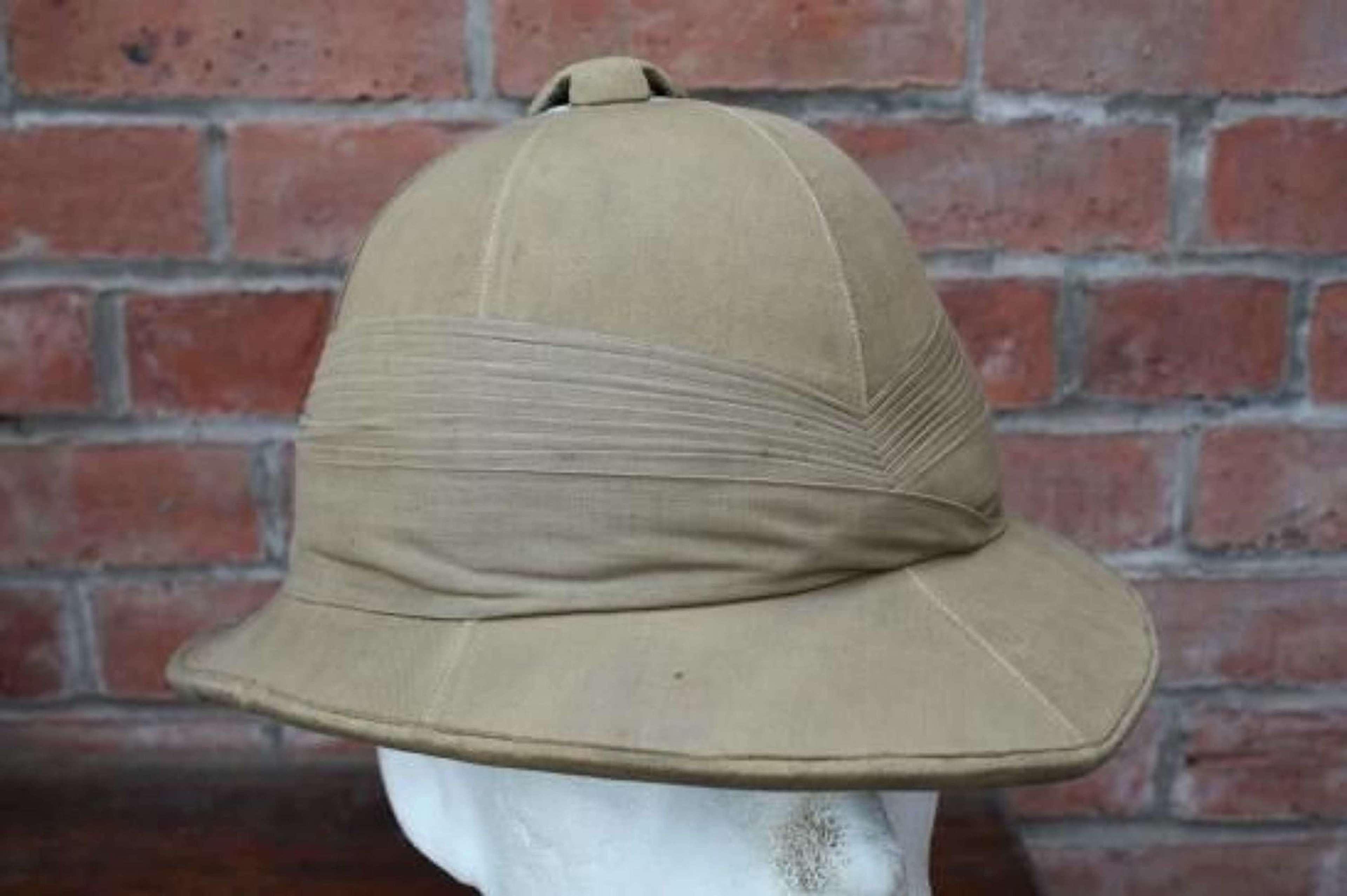 WW1 pattern British khaki Officer's named Pith Tropical Sun helmet.