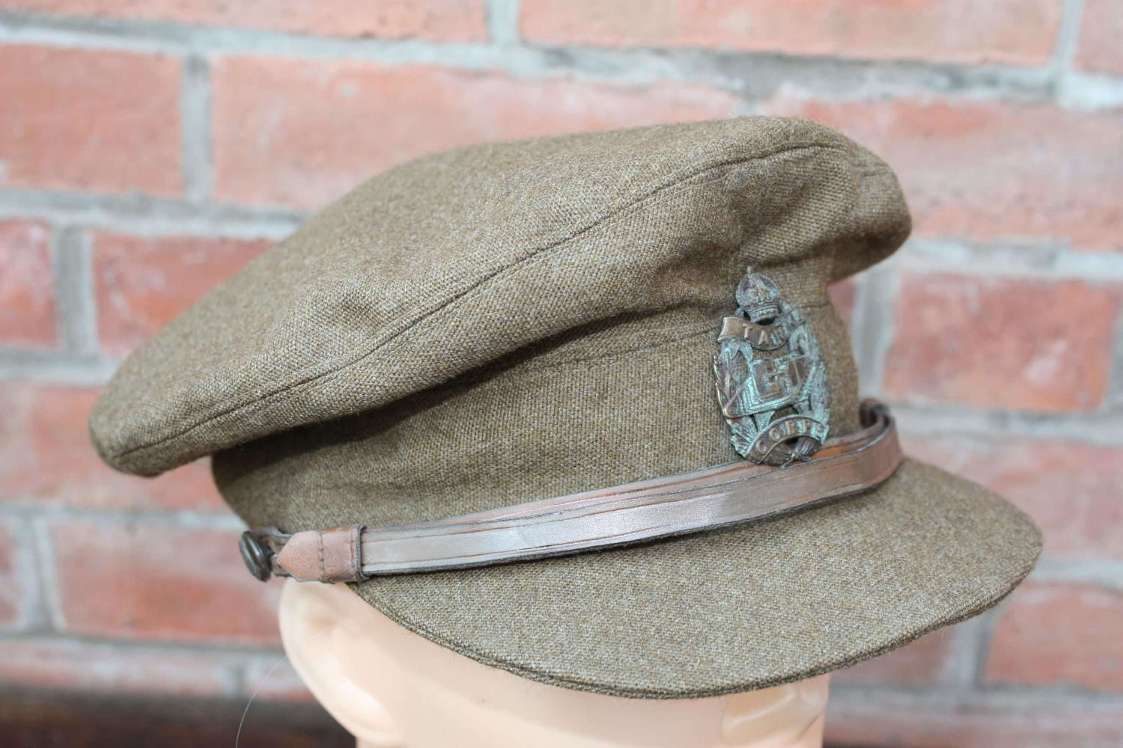 WW1 TANK CORPS BRITISH OFFICERS FLOPPY STYLE KHAKI TRENCH CAP