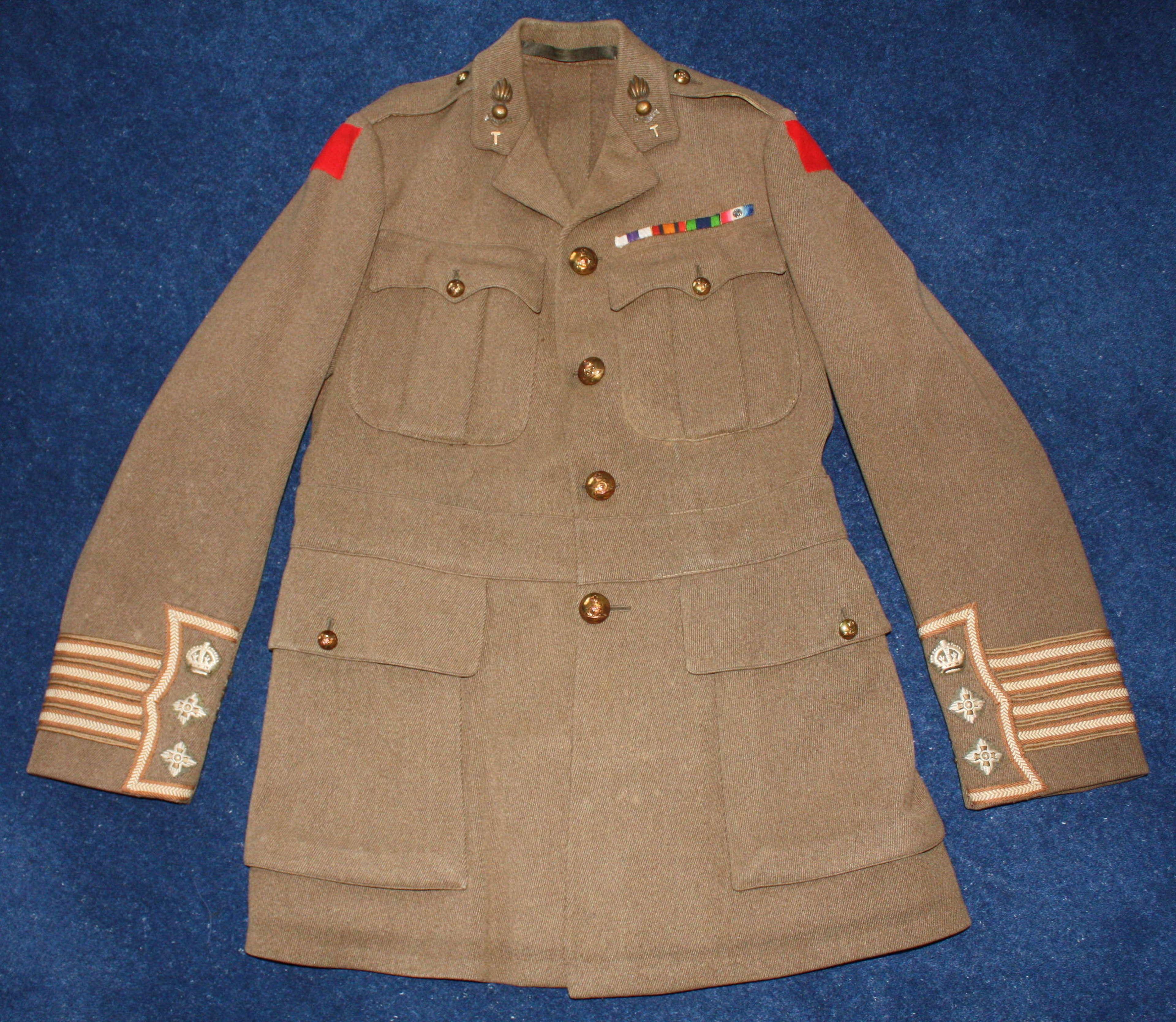 WW1 BRITISH ARMY CUFF RANK TUNIC TO ROYAL ARTILLERY FULL COLONEL