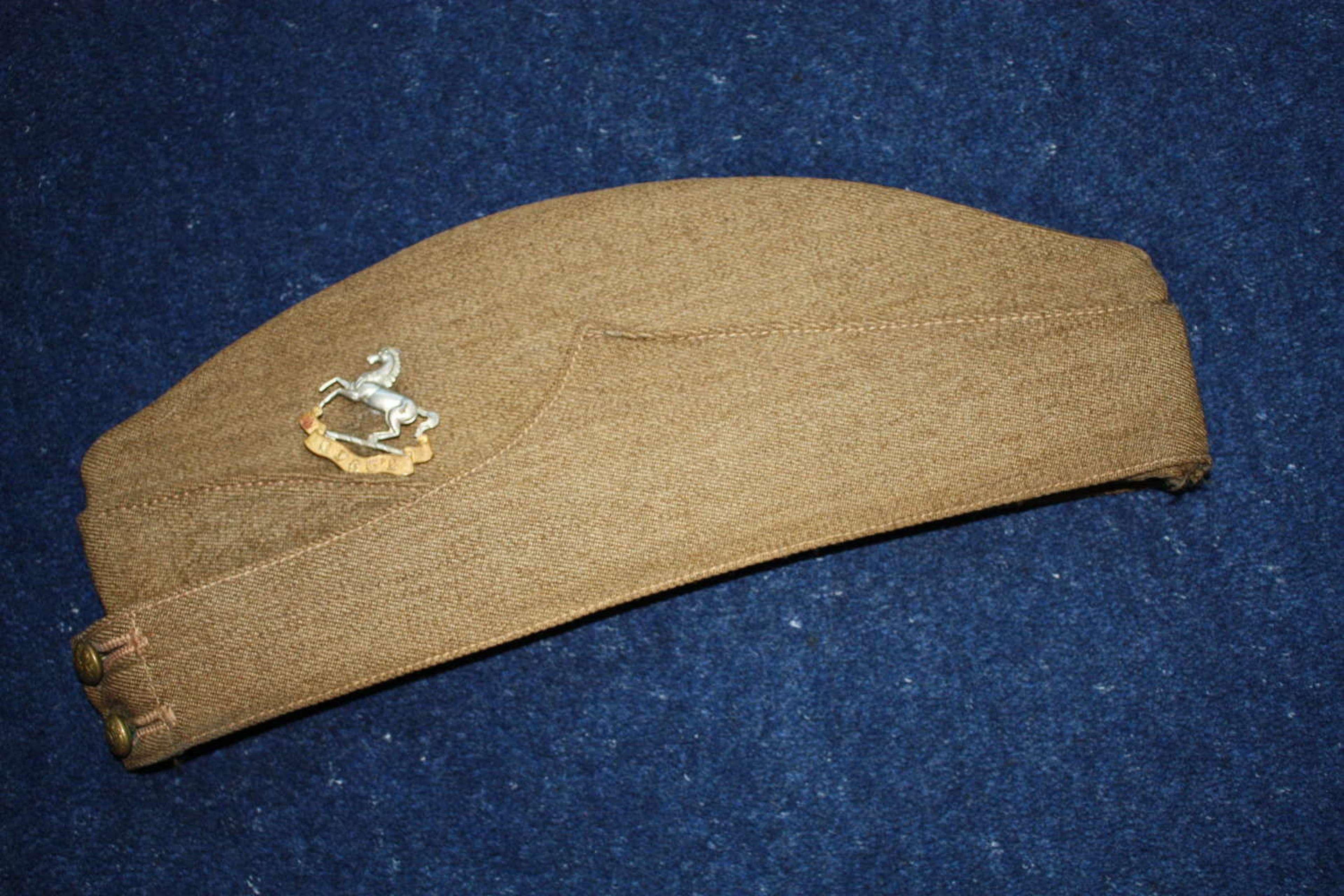 1940 Kings Regiment British Army Khaki Side Cap