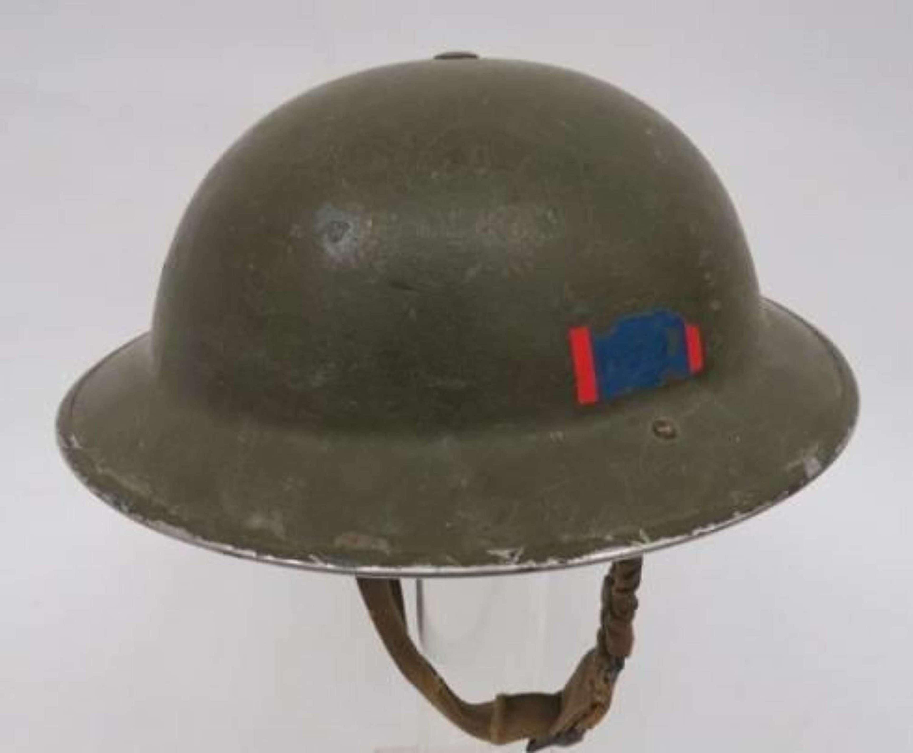 1940 Dated Regimentally Flashed Steel Helmet