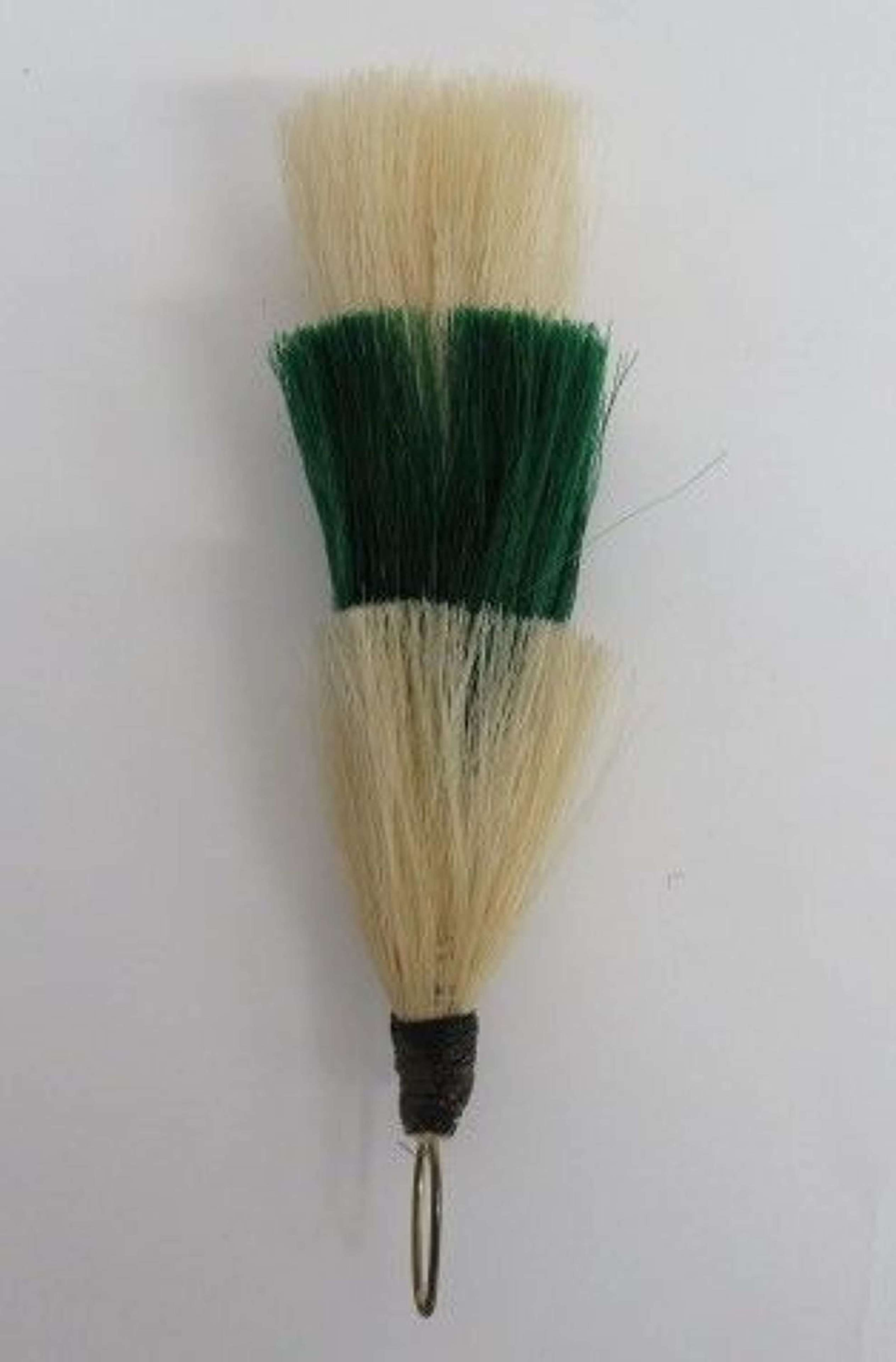 Green and White Horse hair Busby Plume