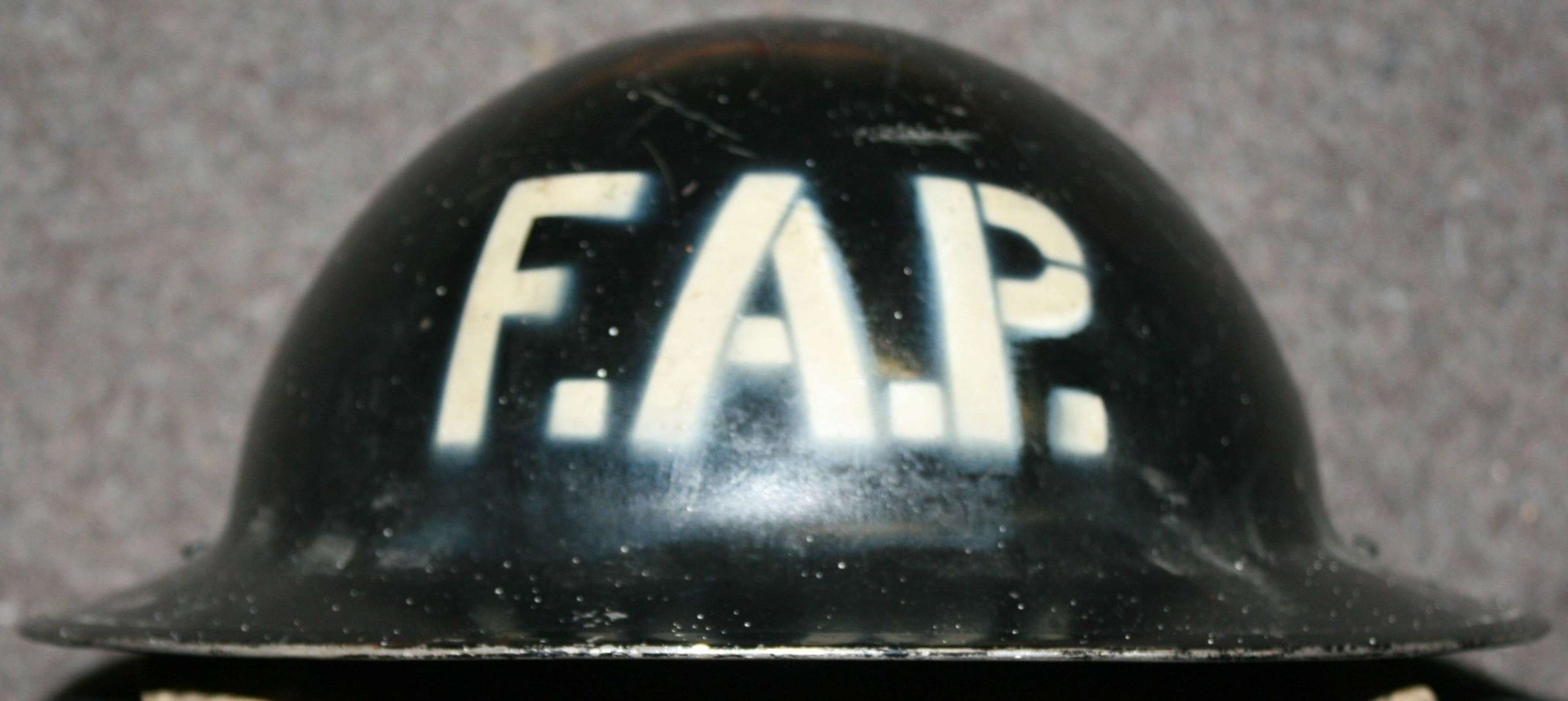 A WWII FIRST AID PARTY HOME FRONT HELMET