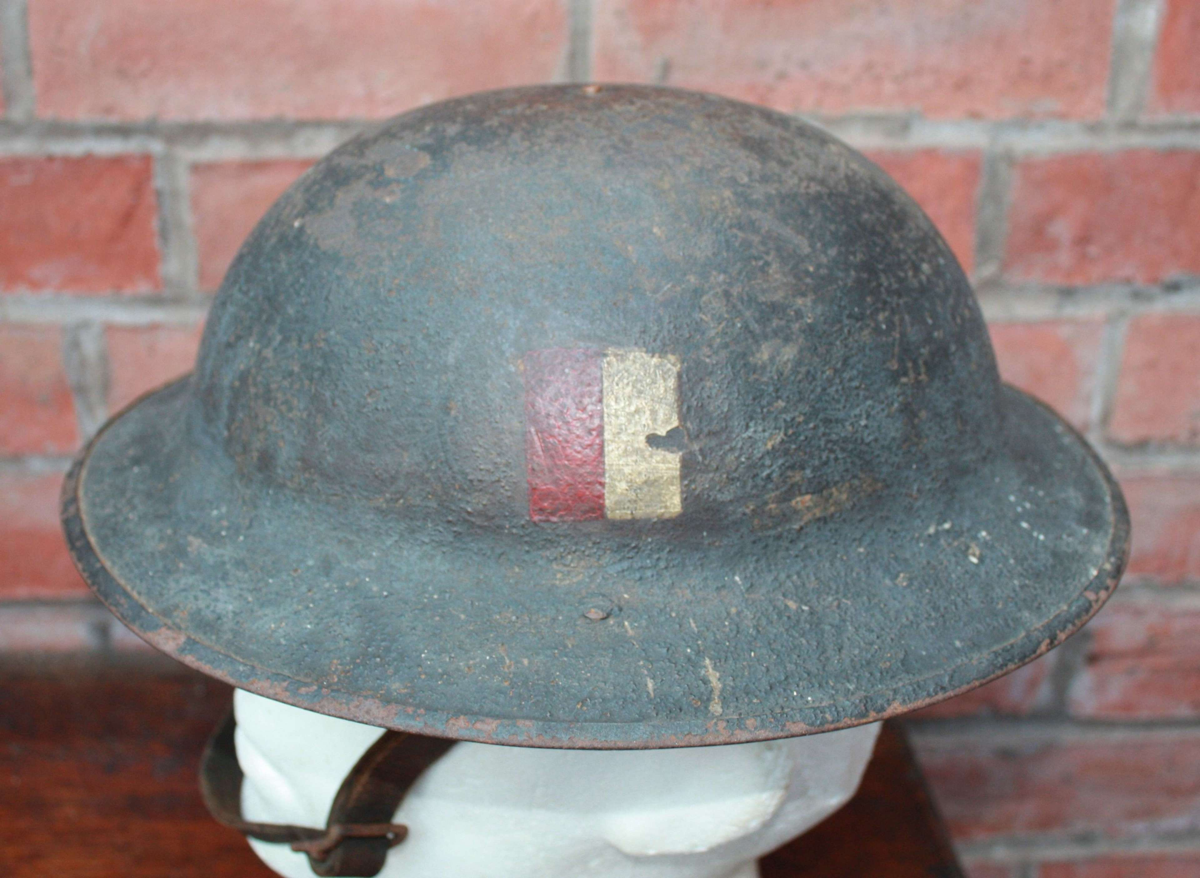 Rare WWI 2nd East Lancashire 'Brodie' Helmet Shell & leather chinstrap
