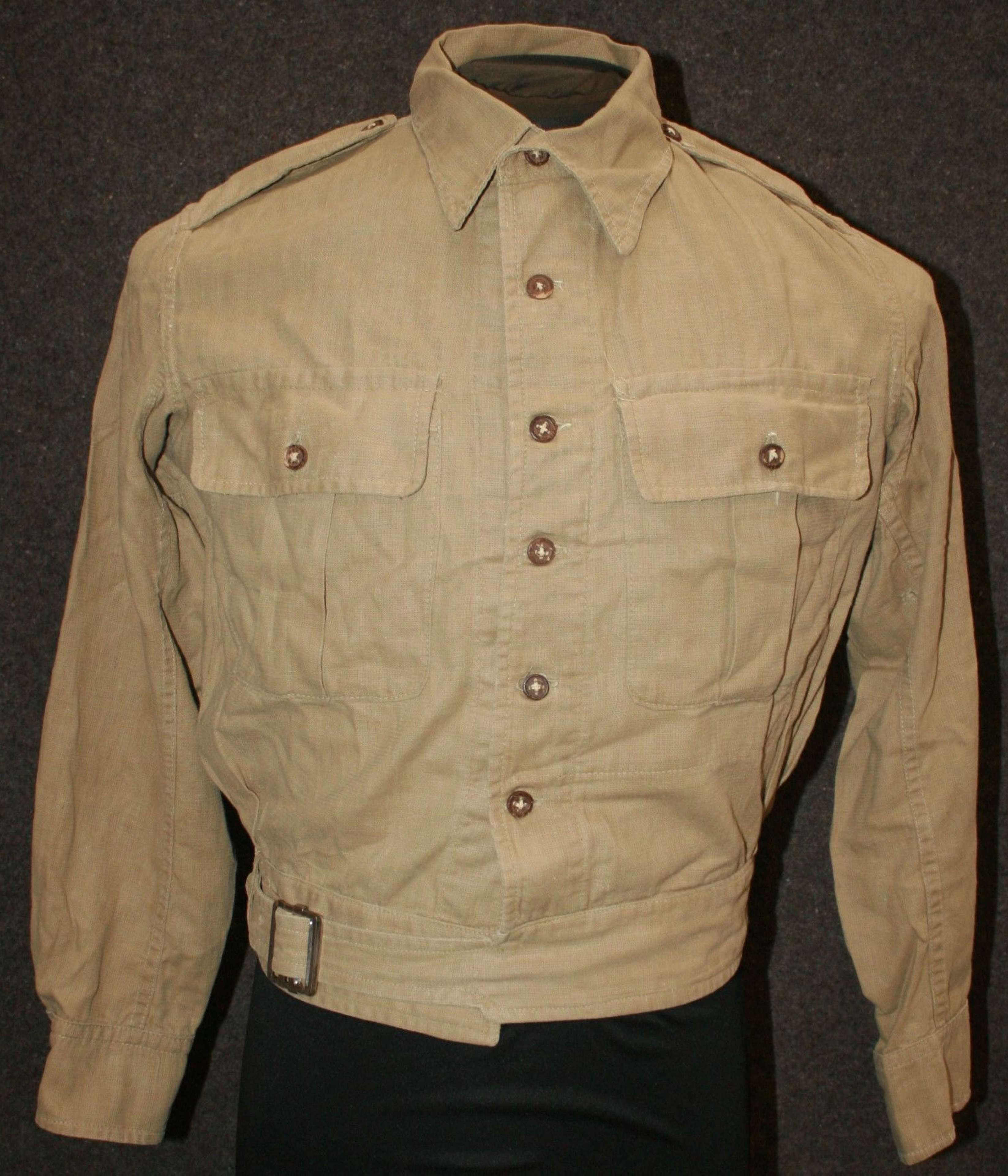 A TAN BATTLE DRESS BLOUSE JACKET