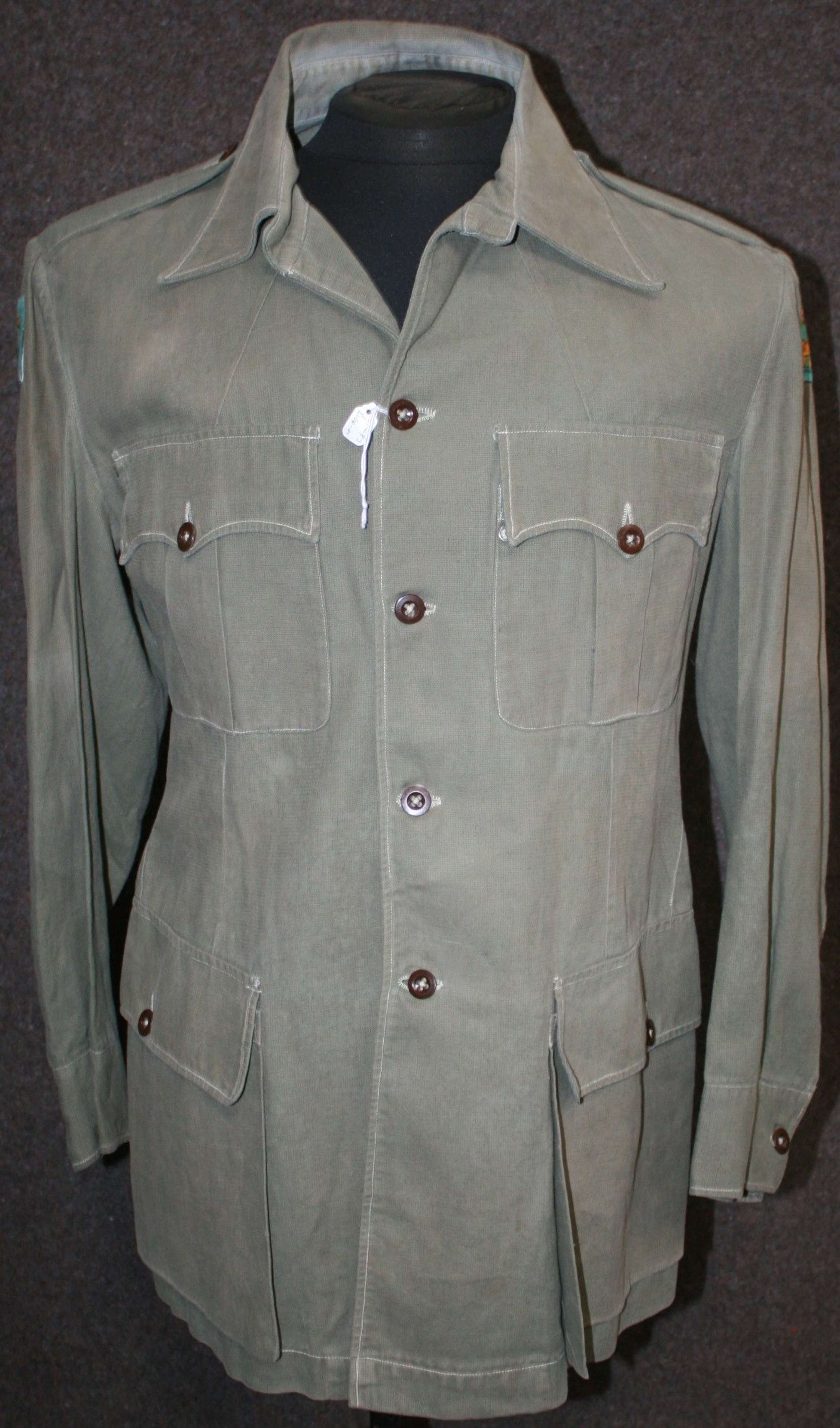 A SINGAPOUR DISTRICT EARLY POST WWII OFFICERS BUSH JACKET