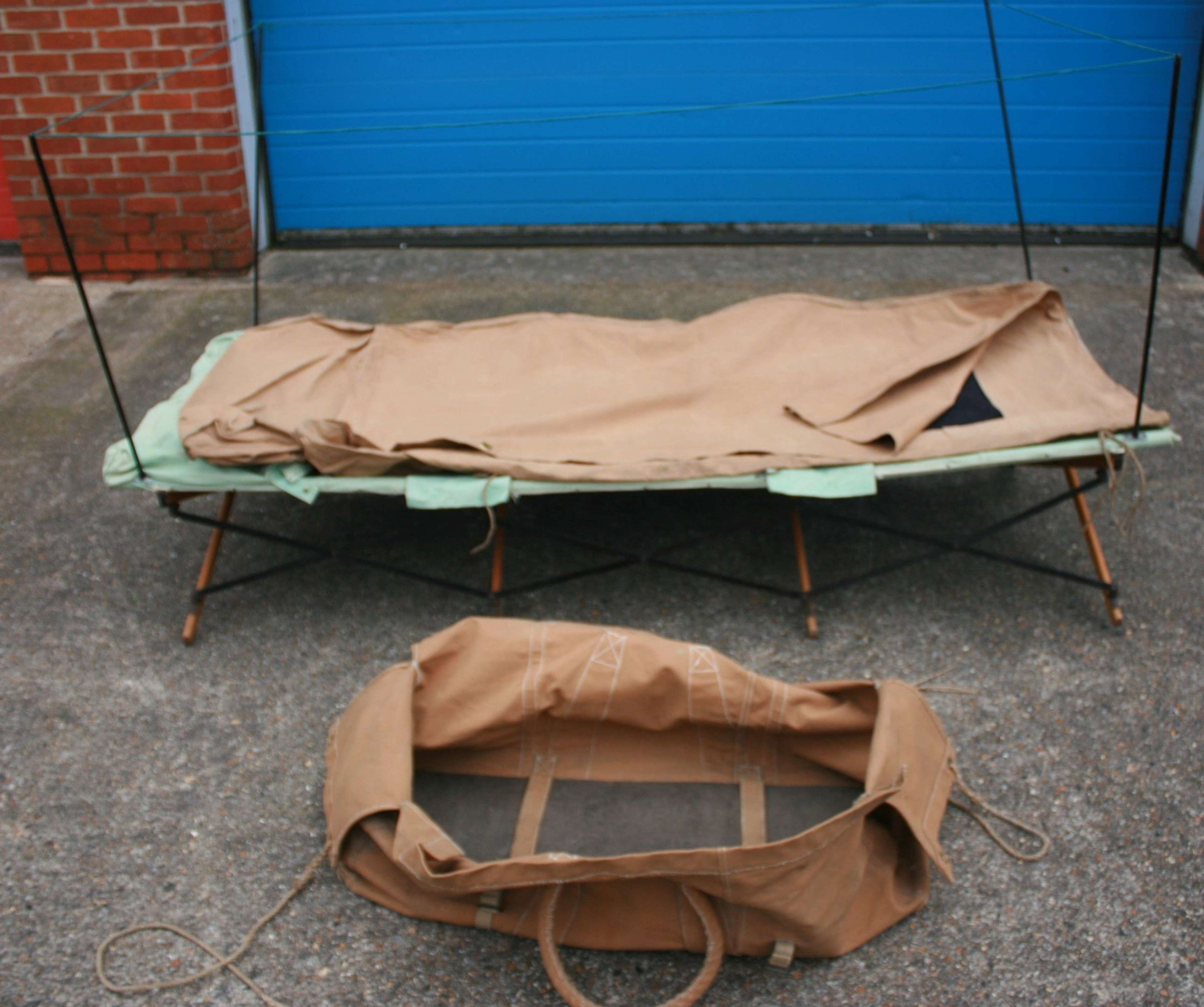 A 1944 DATED WD MARKED TROPICAL BED KIT ( MEDICAL EXAMPLE )
