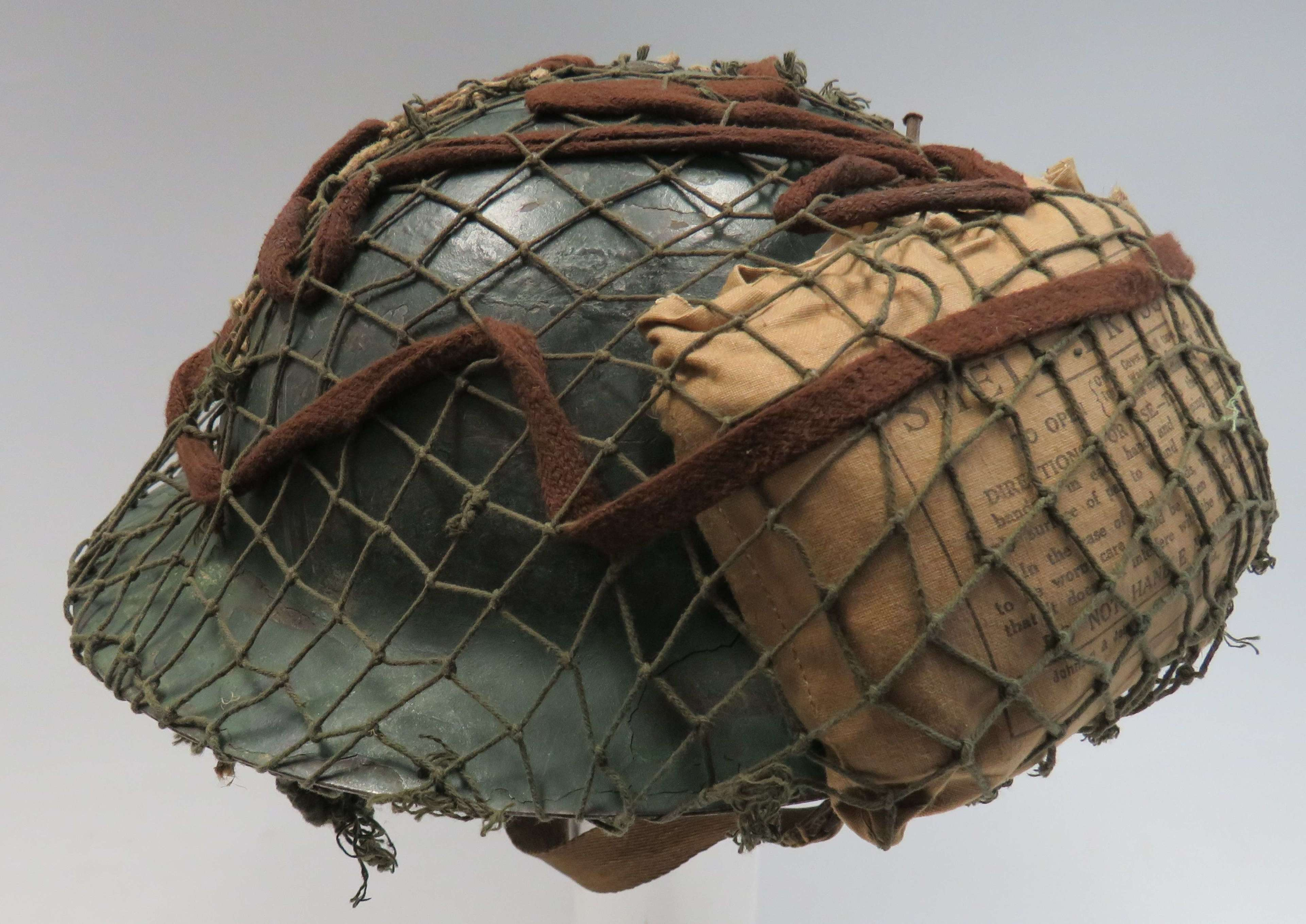 1940 Dated Raw Edge Helmet with Cammo Cover & Dressing
