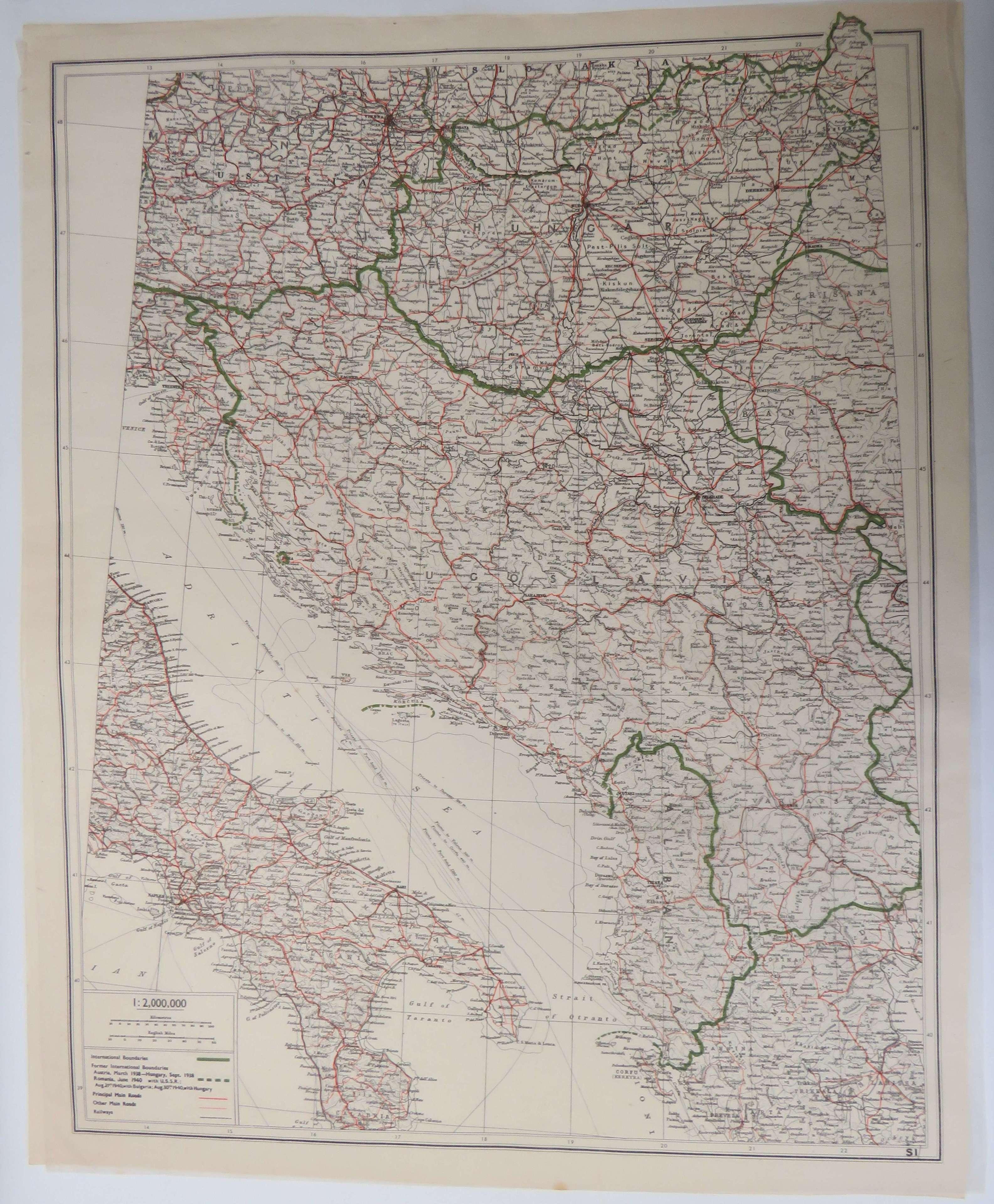 WW 2 Escape & Evasion Map of Italy & Yugoslavia