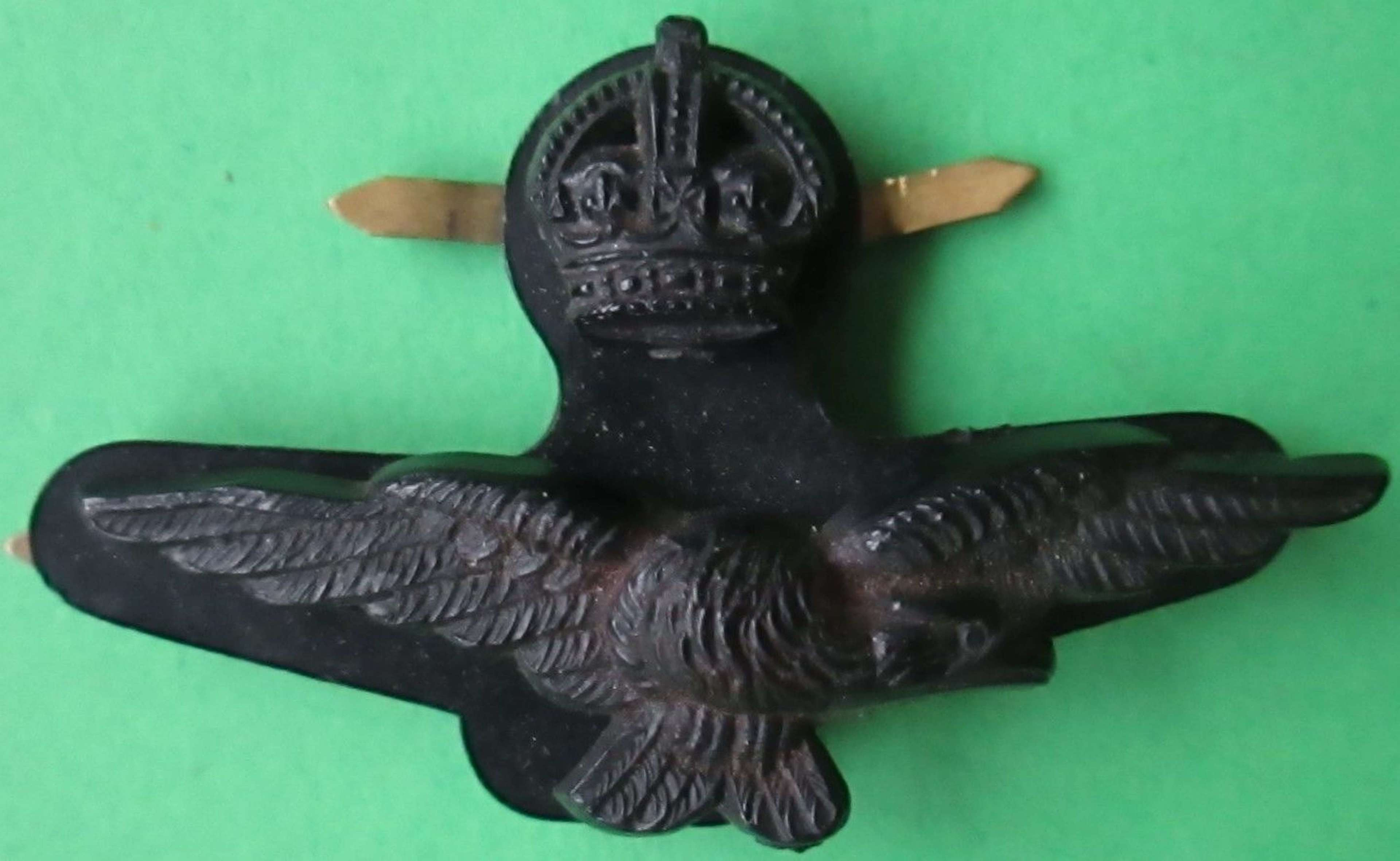 A PLASTIC WWII RAF OFFICERS SIDE CAP CAP BADGE