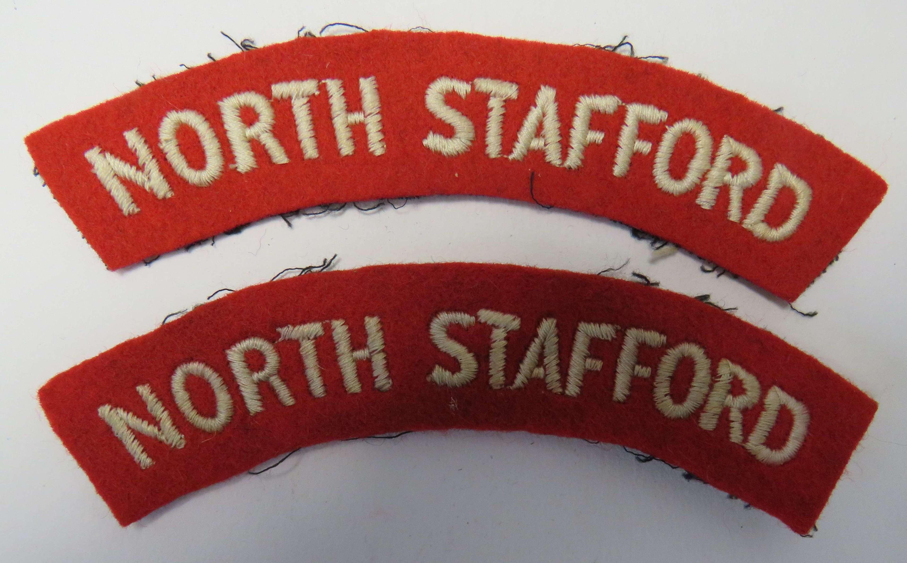 Pair of North Stafford Shoulder Titles
