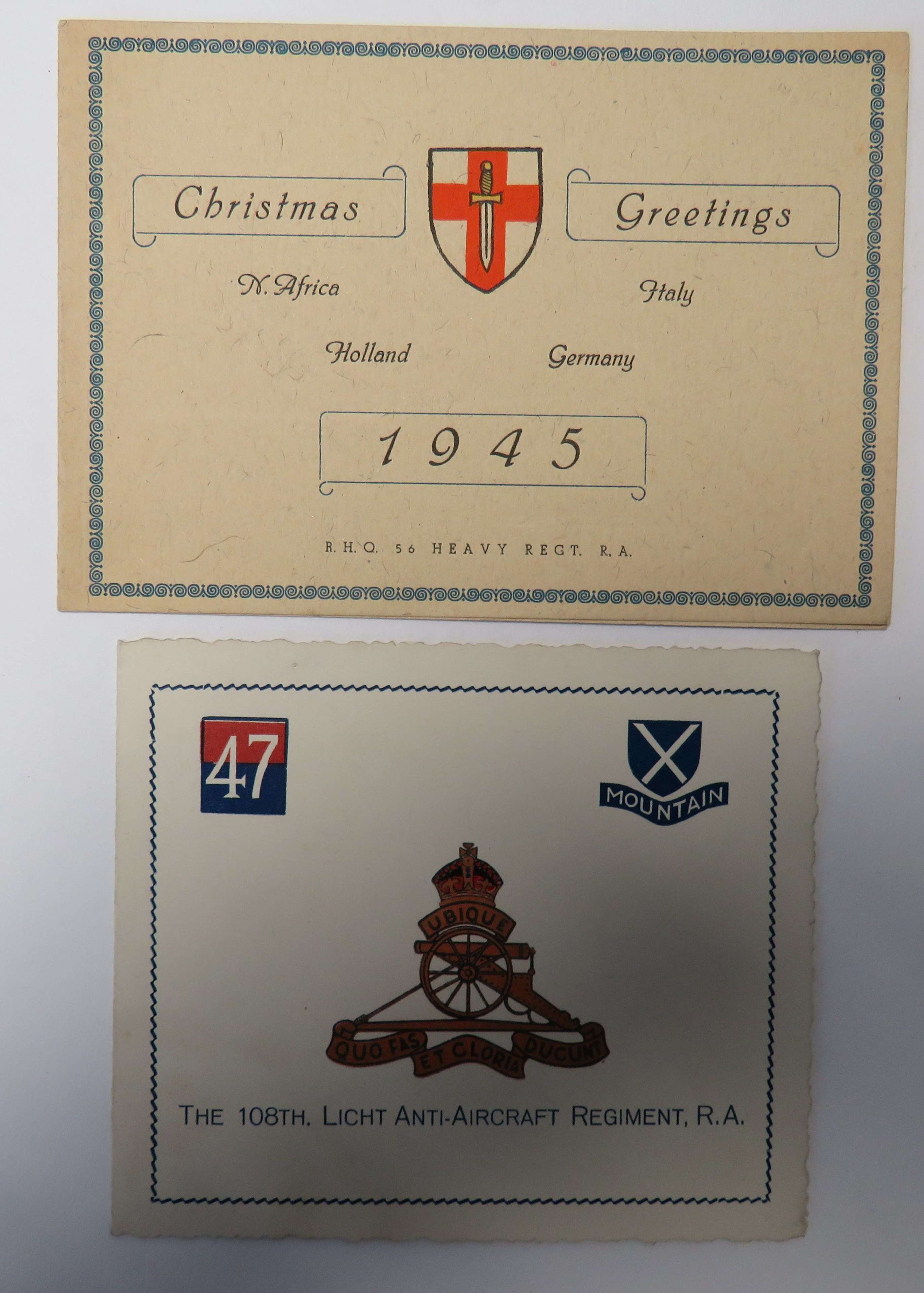 Two 1945 Artillery Christmas Cards