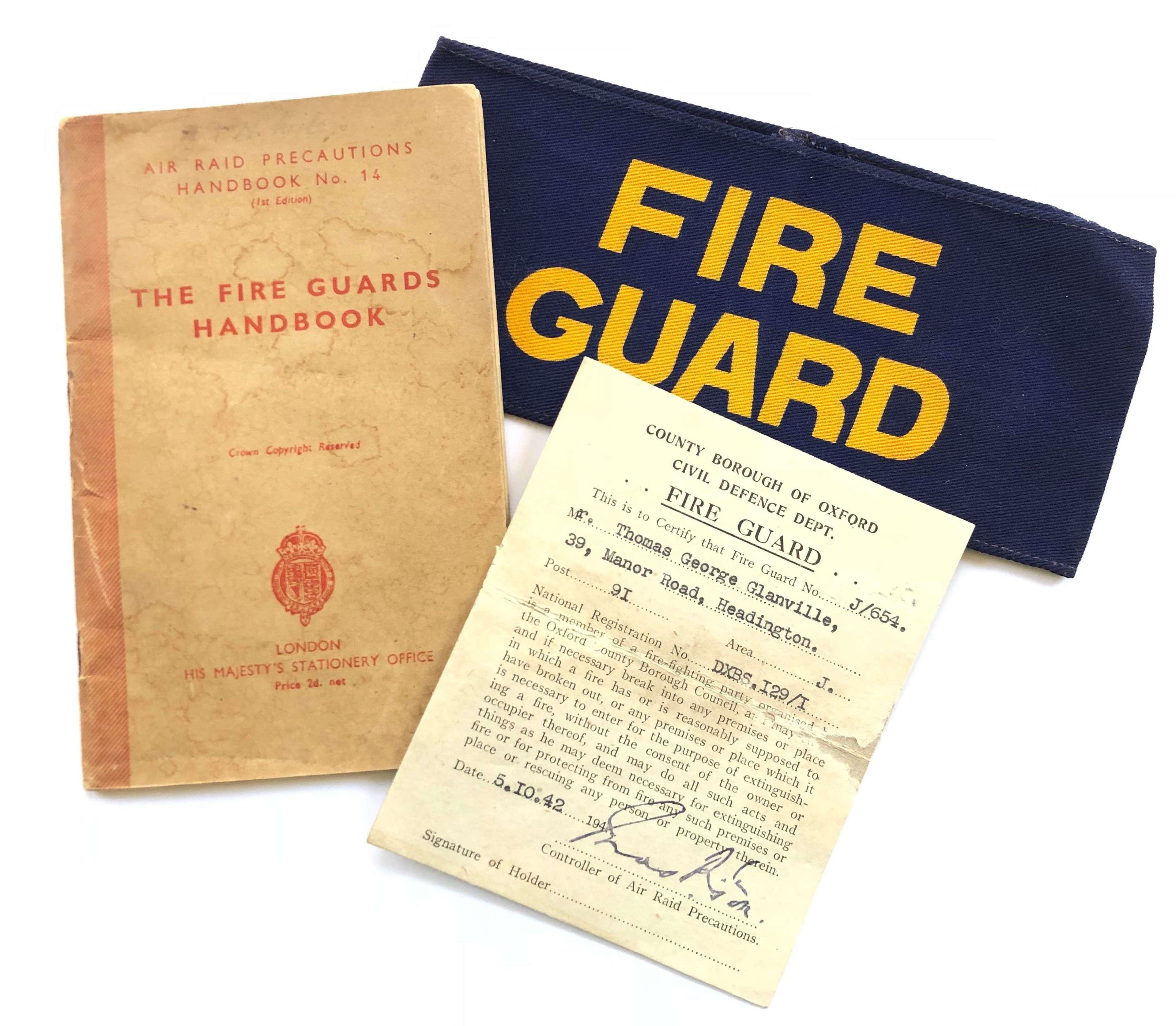 WW2 1942 Home Front Oxfordshire Headington Fire Guard Items