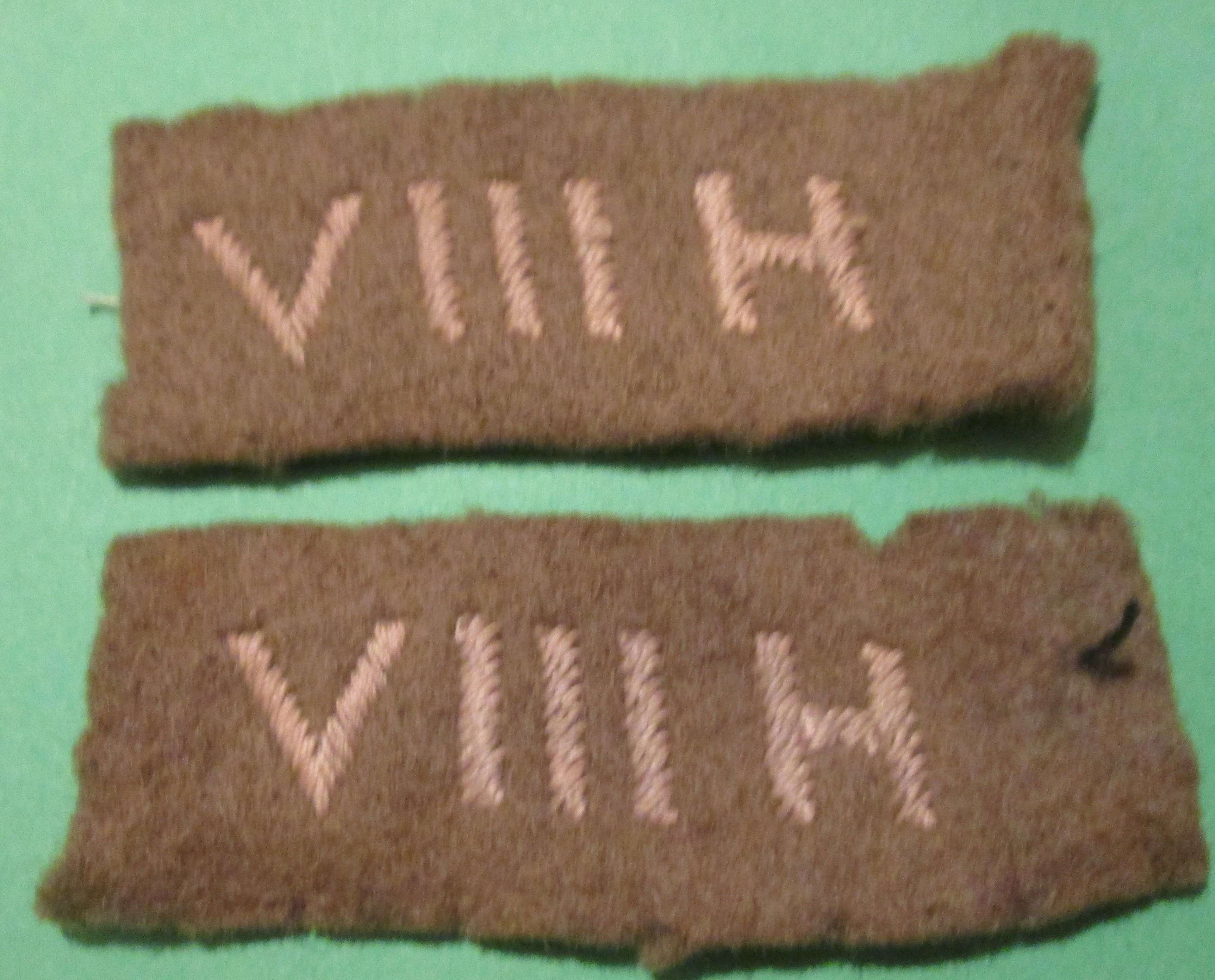 A GOOD USED MATCHING PAIR OF 8TH HUSSARS SHOULDER TITLES