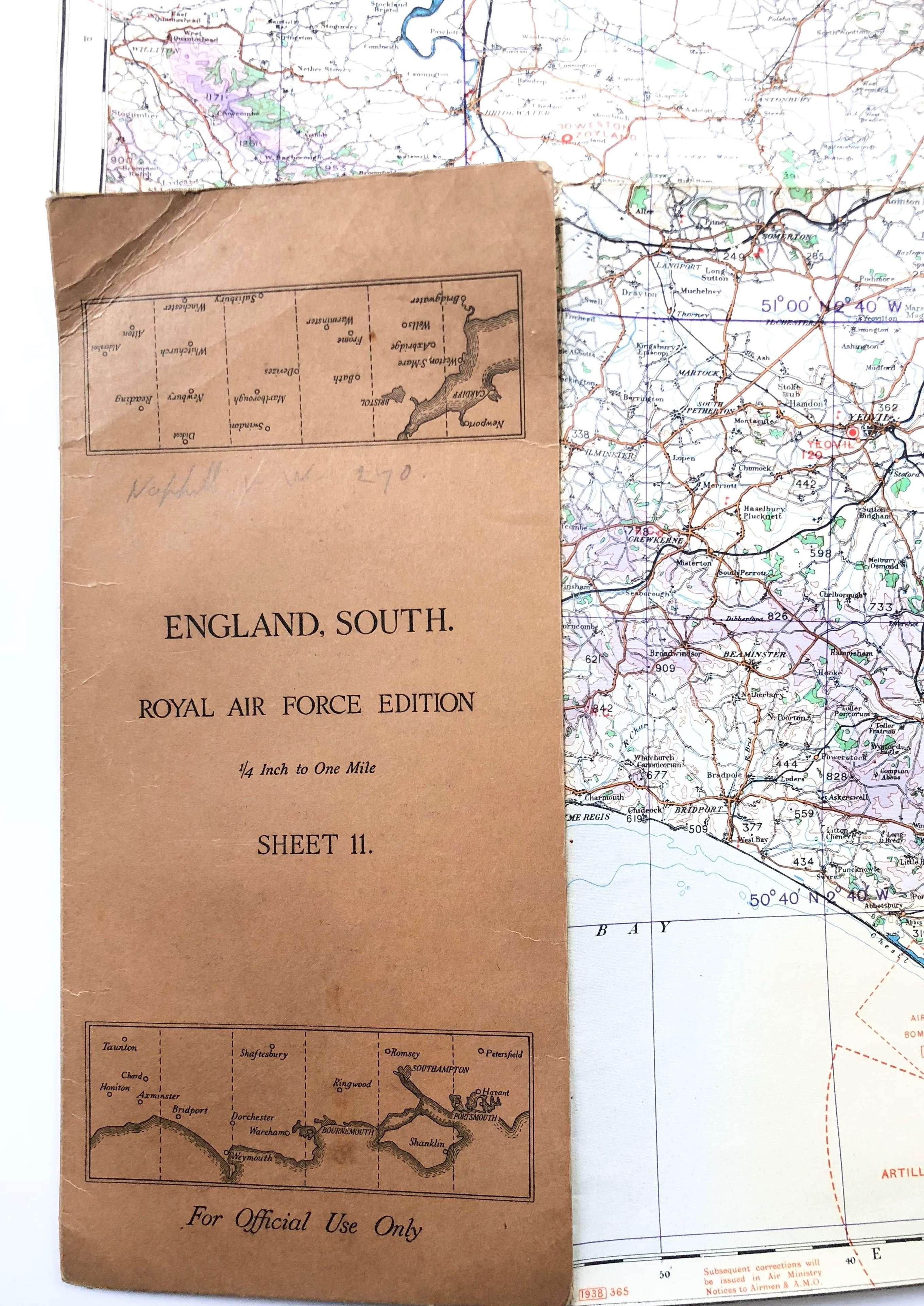 WW2 RAF Battle of Britain Period South Coast Flying Map.