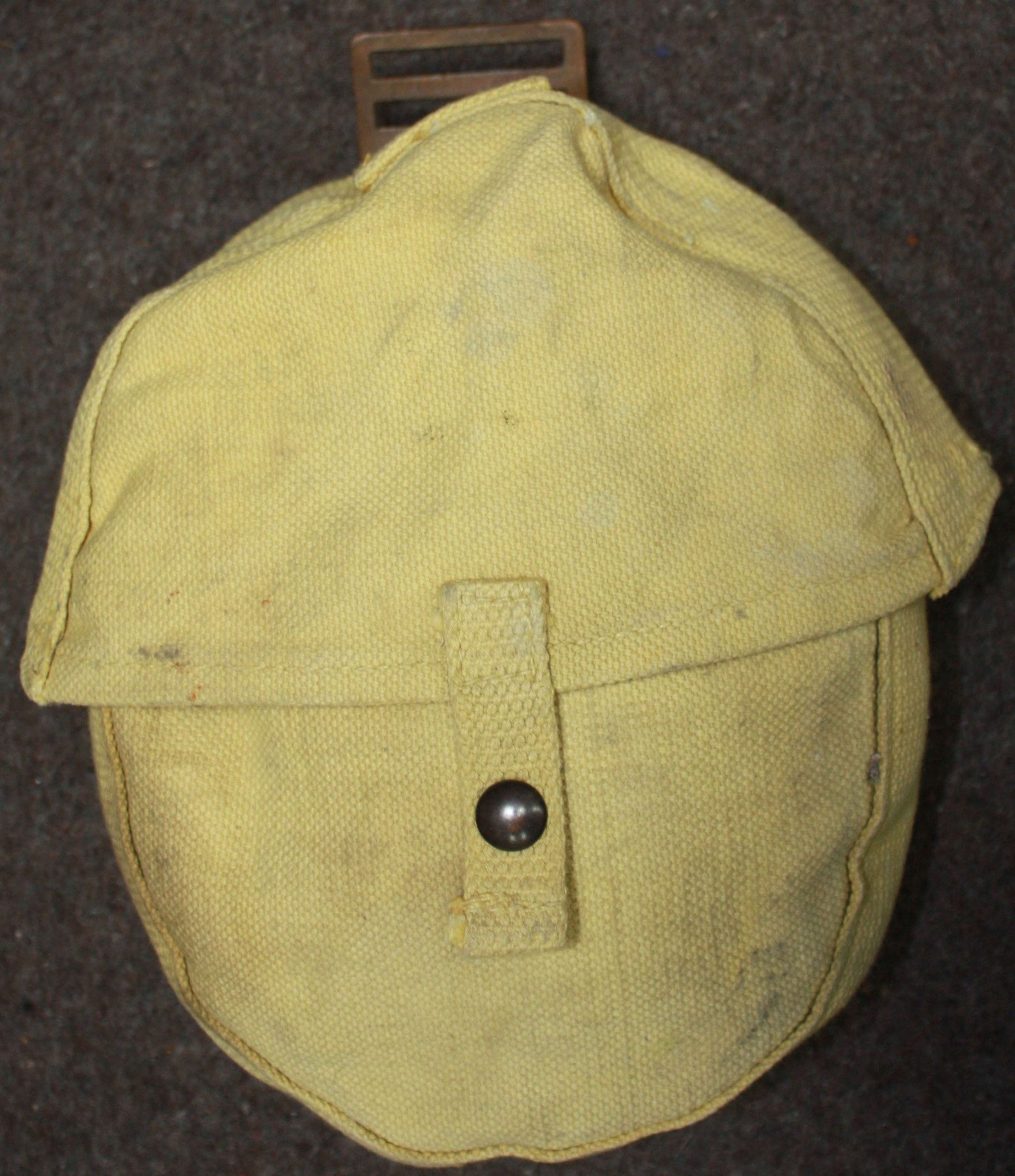 A WWII 1941 YELLOW WEBBING SOUTH AFRICAN LEWIS GUN  MAGAZINE POUCH
