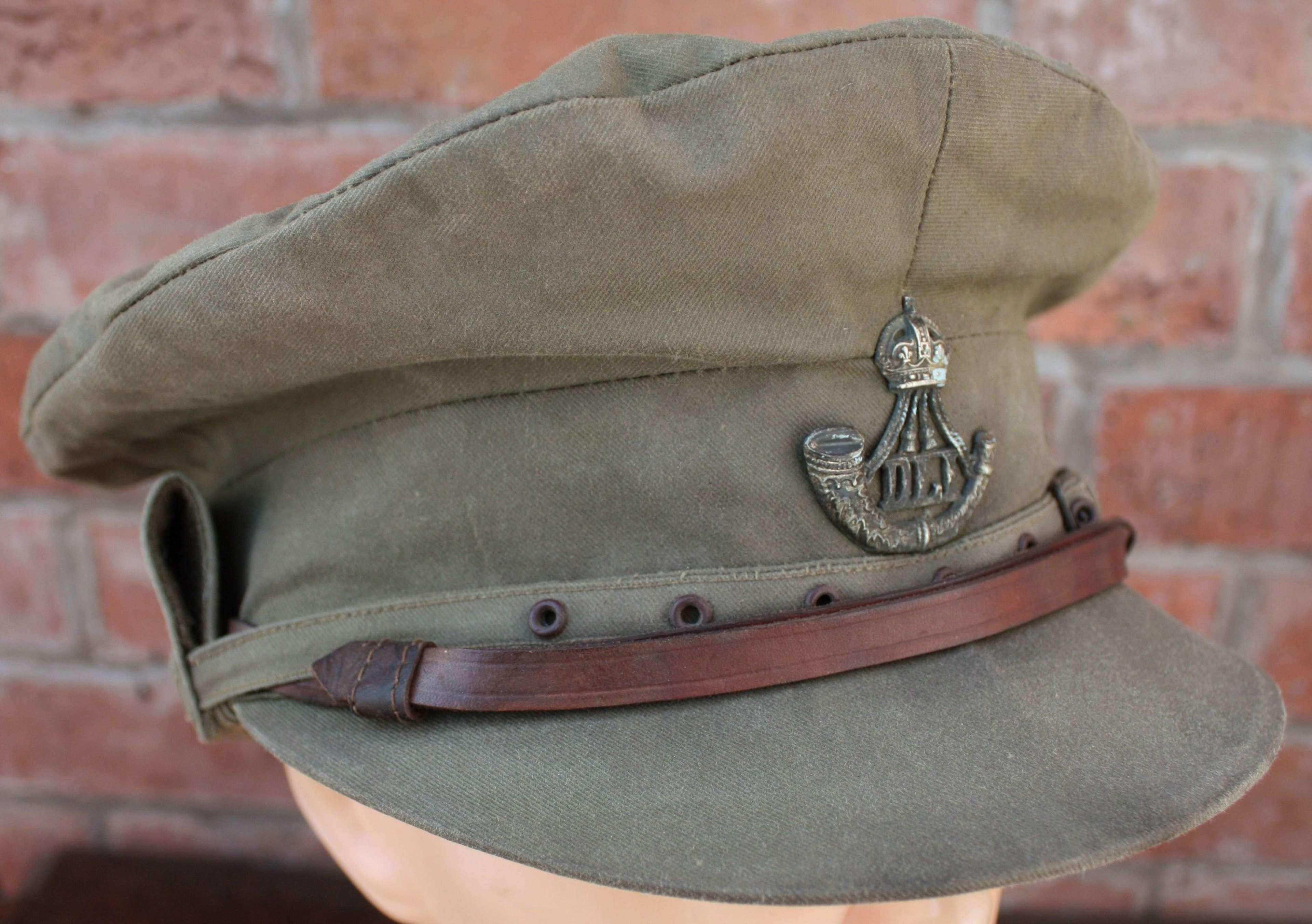 WW1 DLI BRITISH OFFICER'S 'GOR BLIMEY' CAP: DURHAM LIGHT INFANTRY