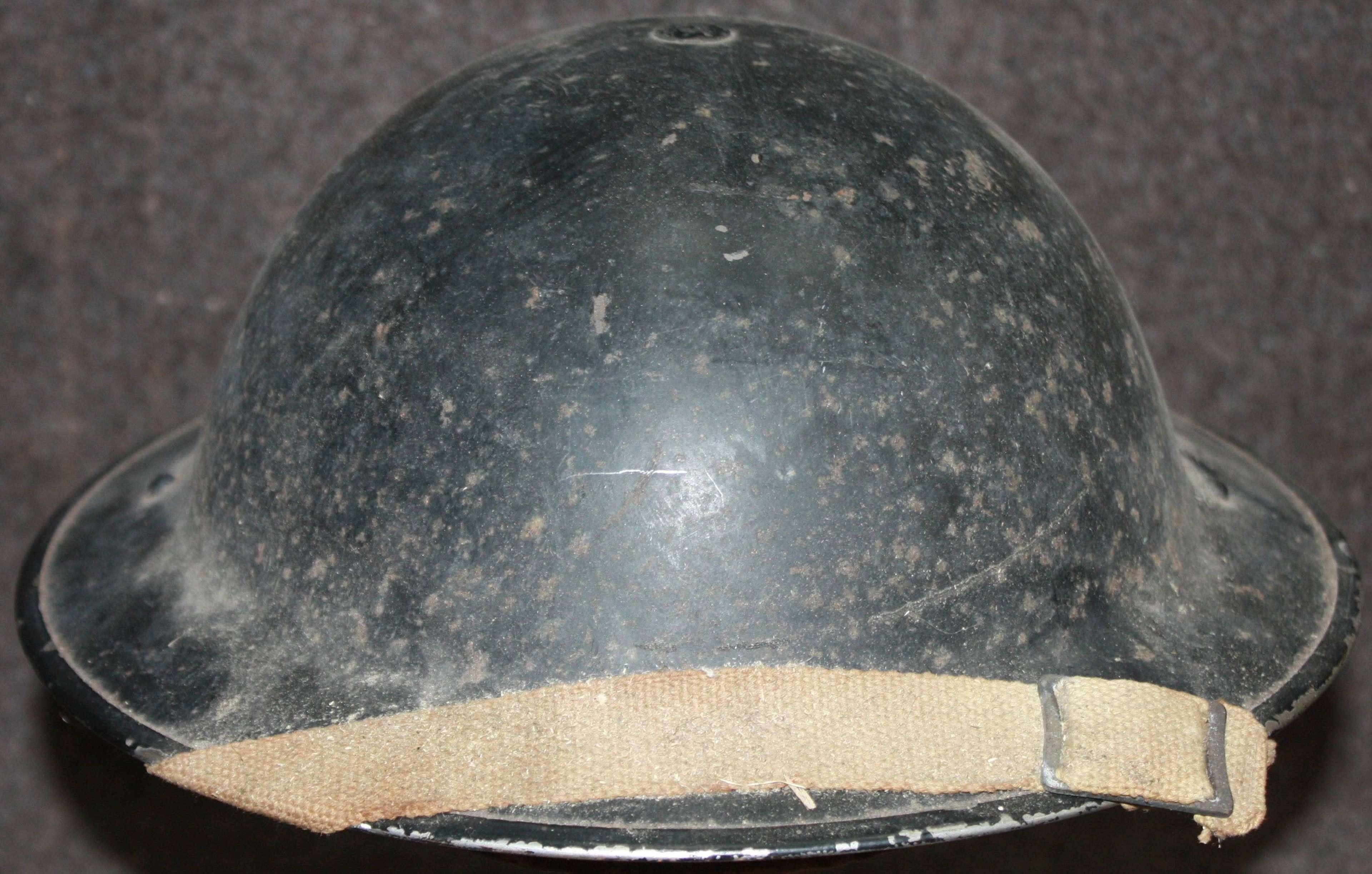 A WWII WARDENS BLACK HELMET MID WAR EXAMPLE