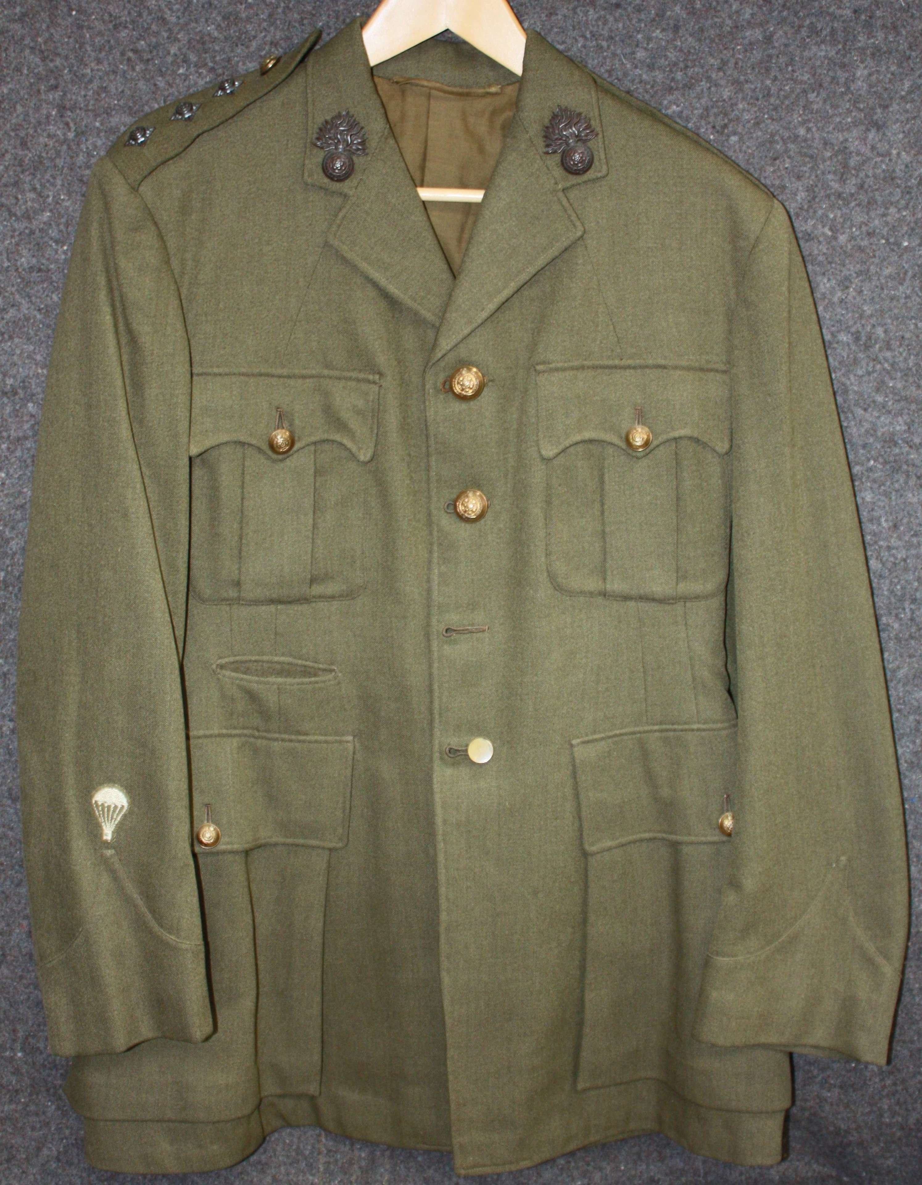 A WWII OFFICERS ROYAL FUSILIERS SERVICE DRESS JACKET PARACHUTE TRAINED