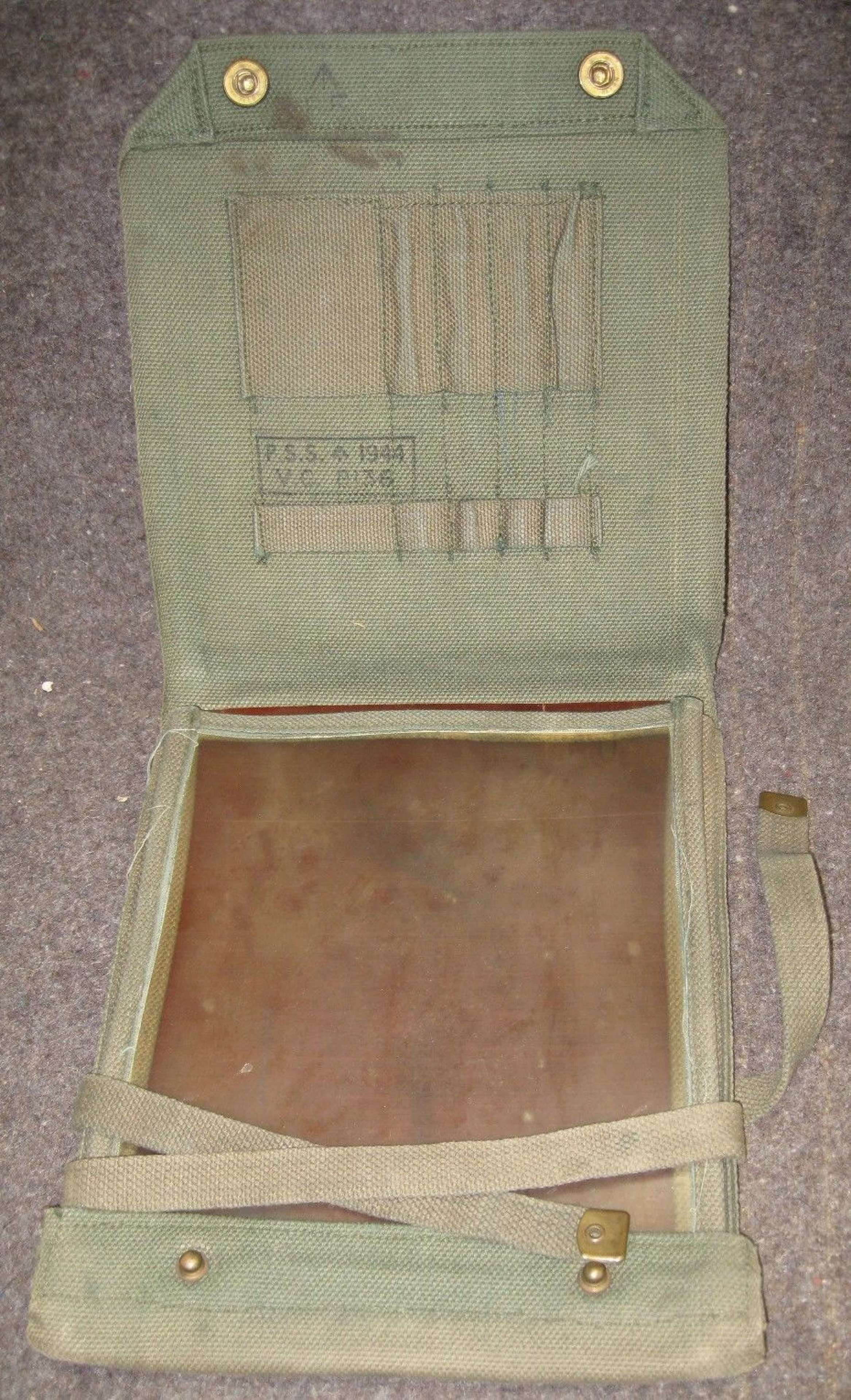 A JUNGLE GREEN DYED 37 PATTERN MAP CASE 1944 DATED