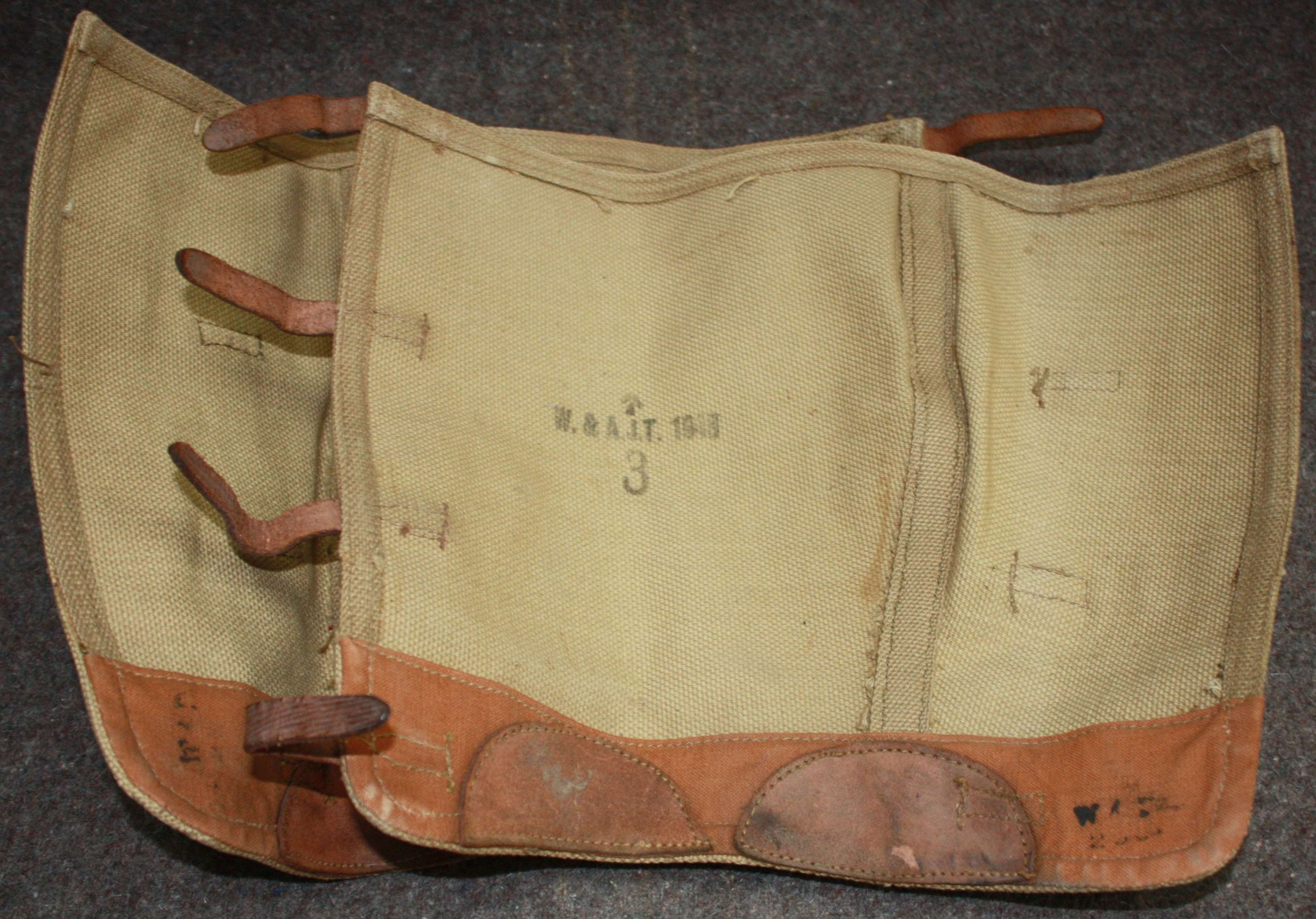 A PAIR OF 1943 DATED 4 STRAP GAITERS SIZE 3