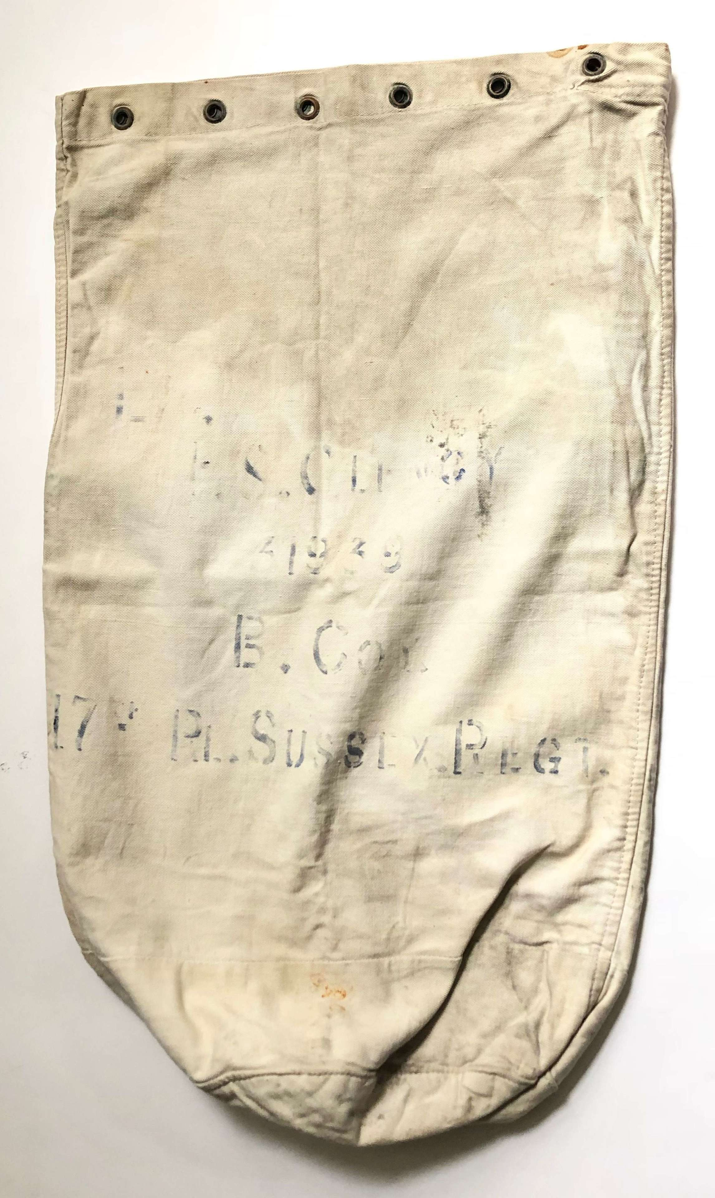 WW1 1918 Royal Sussex Regiment Kit Bag.