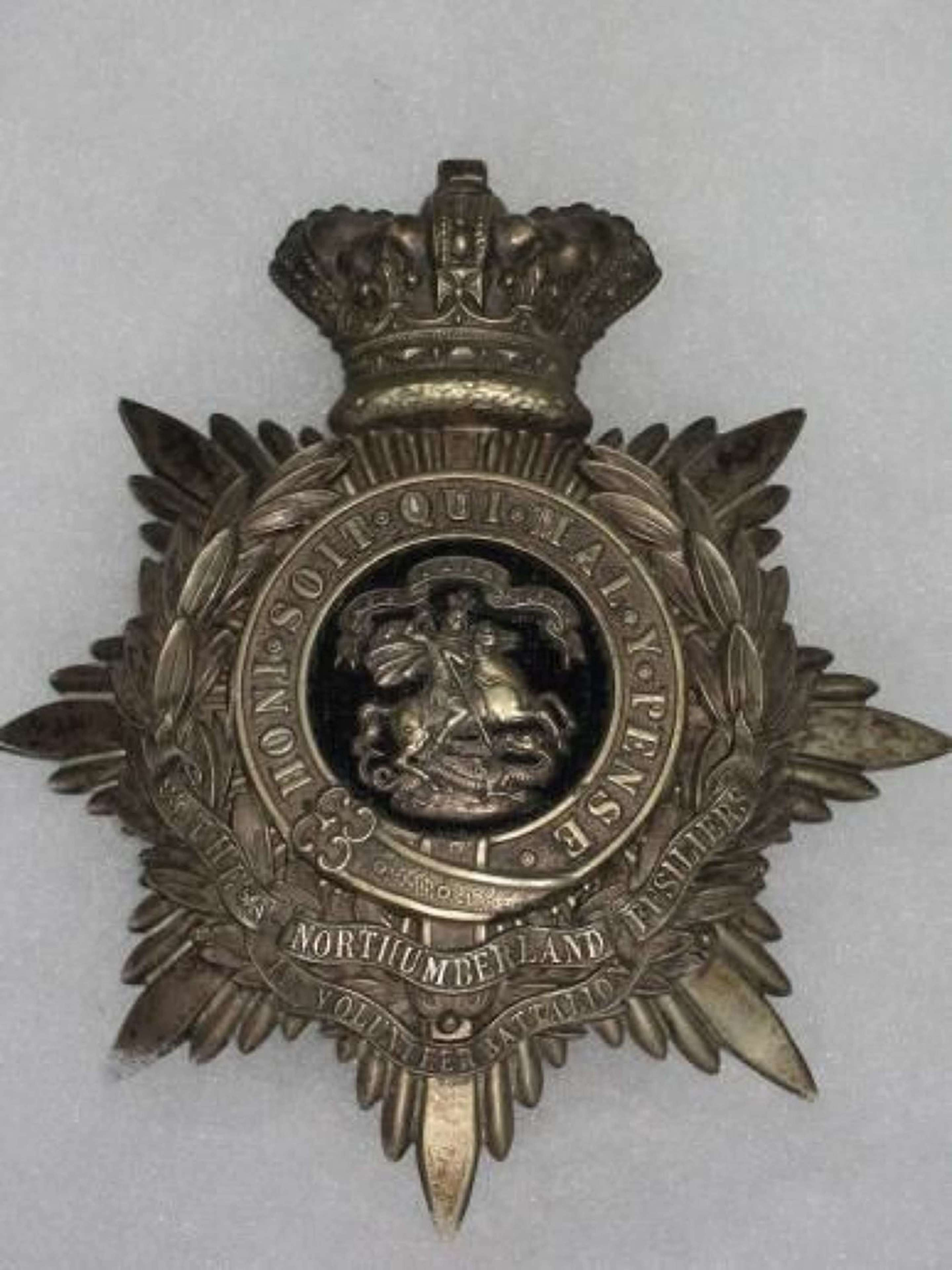 1st Volunteer Battalion The Northumberland Fusiliers.Pre 1901 Officers Home Service Helmet Plate.