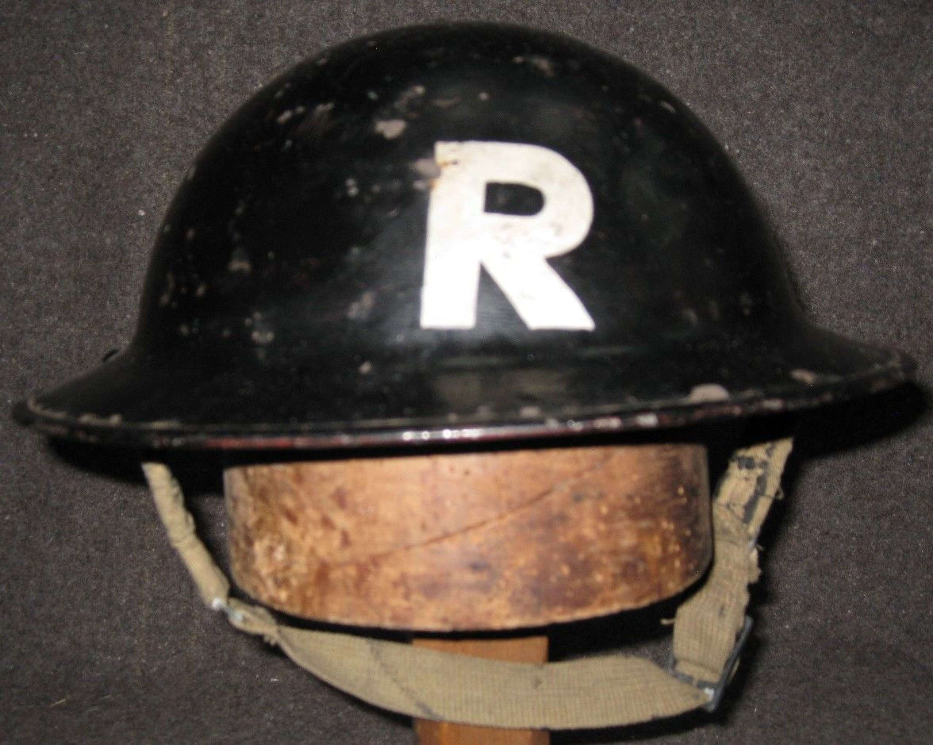 A WWII LONDON AREA RESCUE PARTY BLACK HELMET