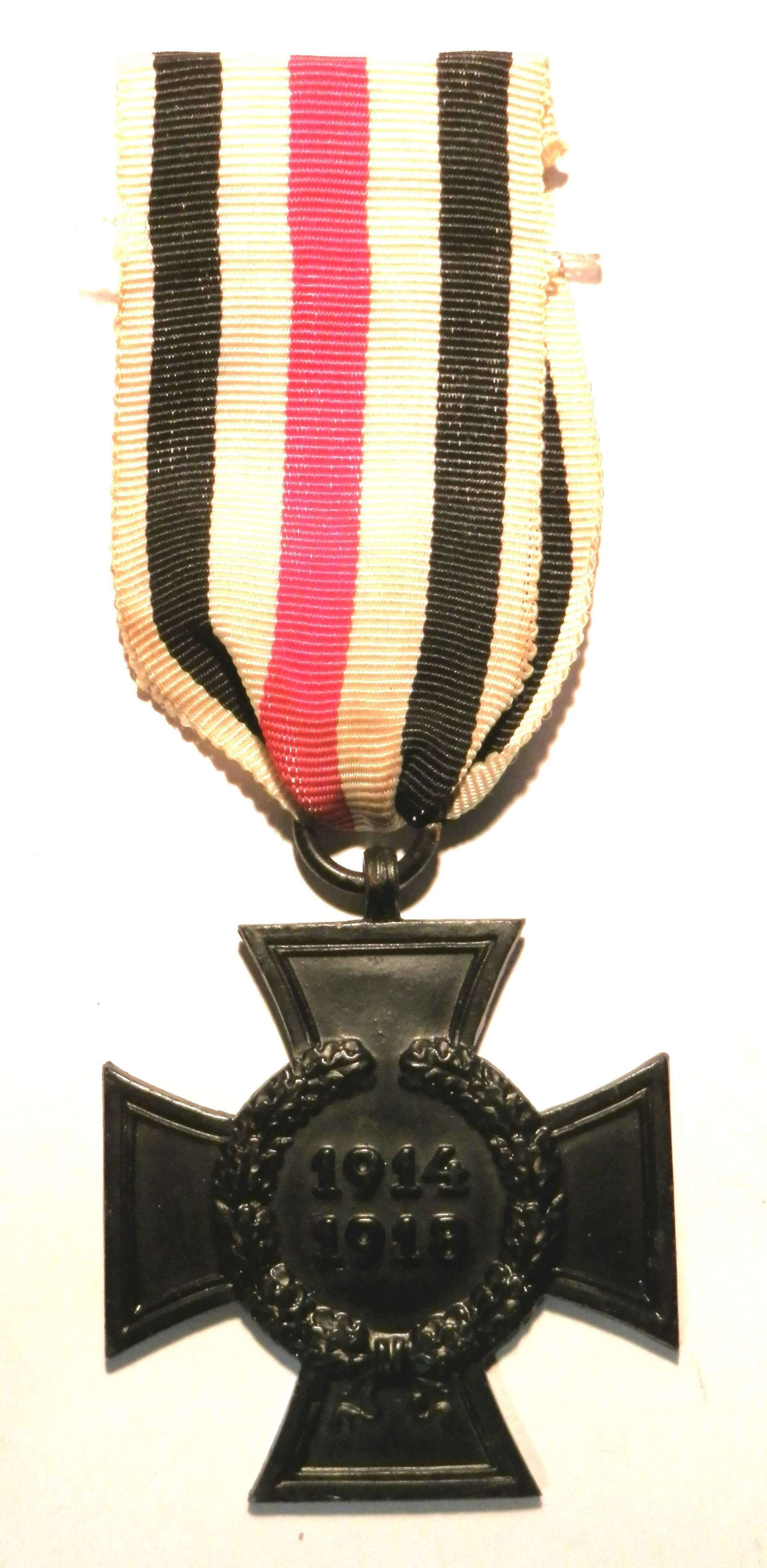 Imperial German Widow Cross 1914-18. Maker marked 'WS'.