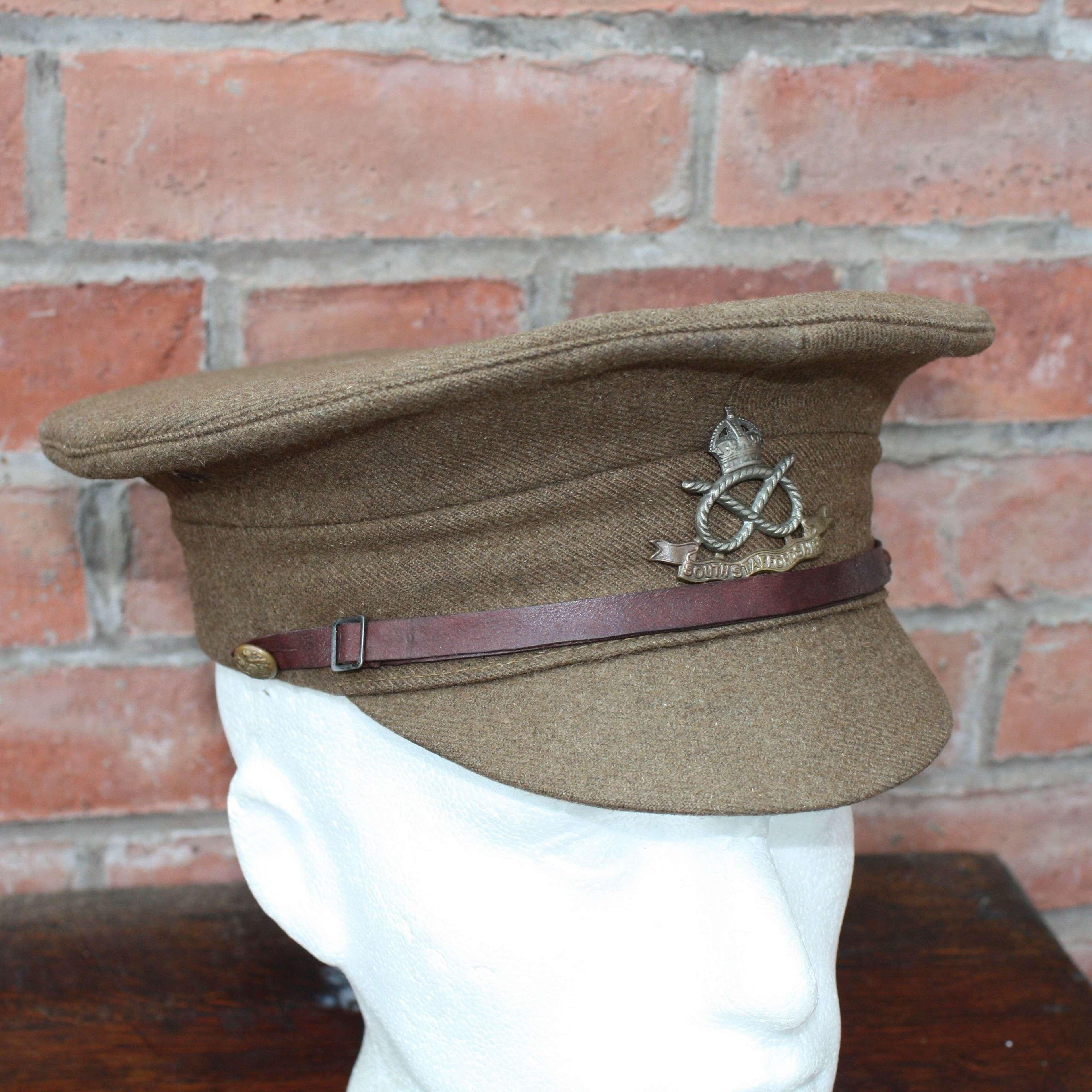 BRITISH WW1 1905 PATTERN OTHER RANKS KHAKI SERVICE DRESS CAP 1915 DATE