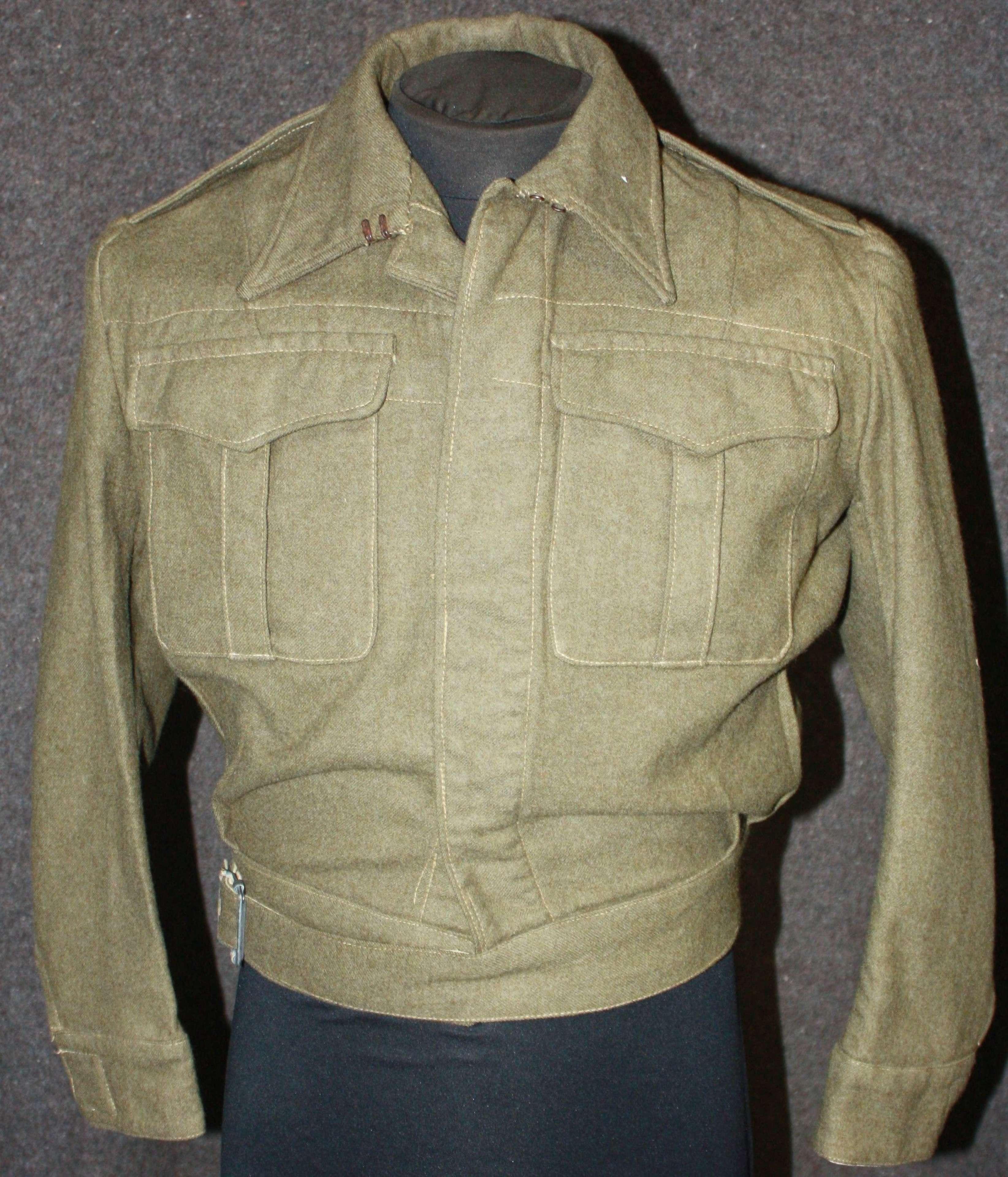 A WWII ATS BATTLE DRESS BLOUSE SIZE 12 ( MODERN APPROX )