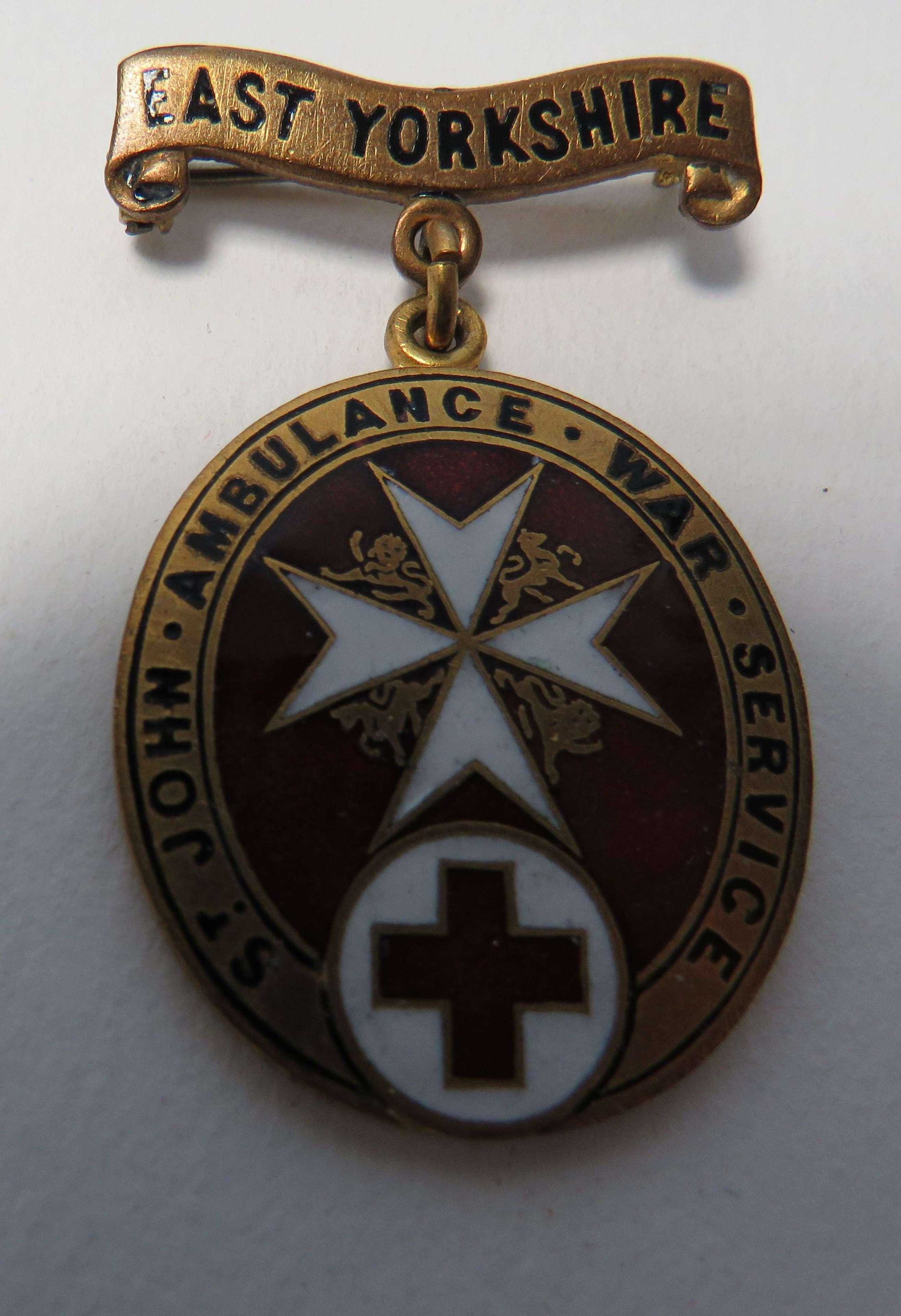 East Yorkshire St Johns War Service Badge
