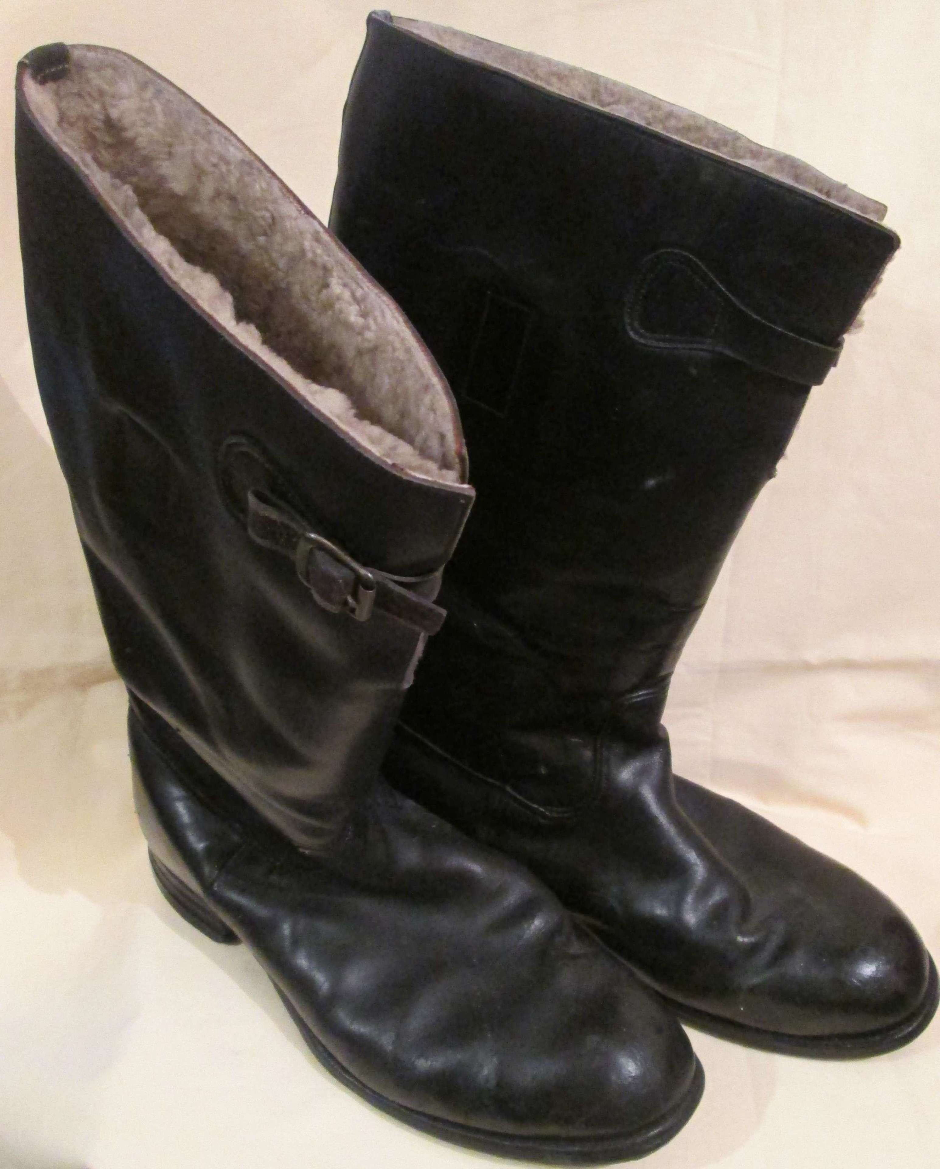A PAIR OF 1938 DATED RAF 36 PATTERN FLYING BOOTS SIZE 10