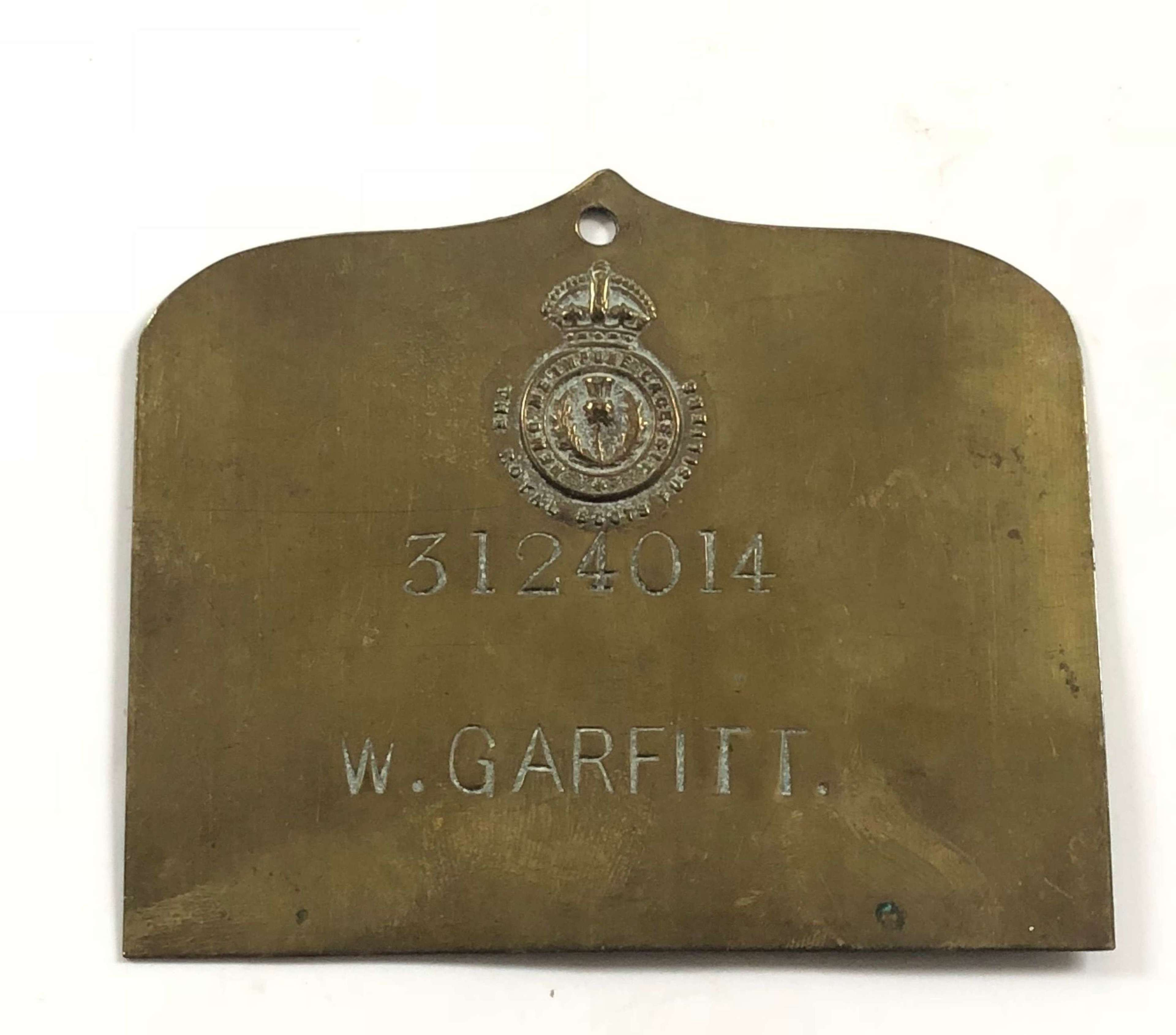 Royal Scots Fusiliers Other Rank's Duty Brass Plate.