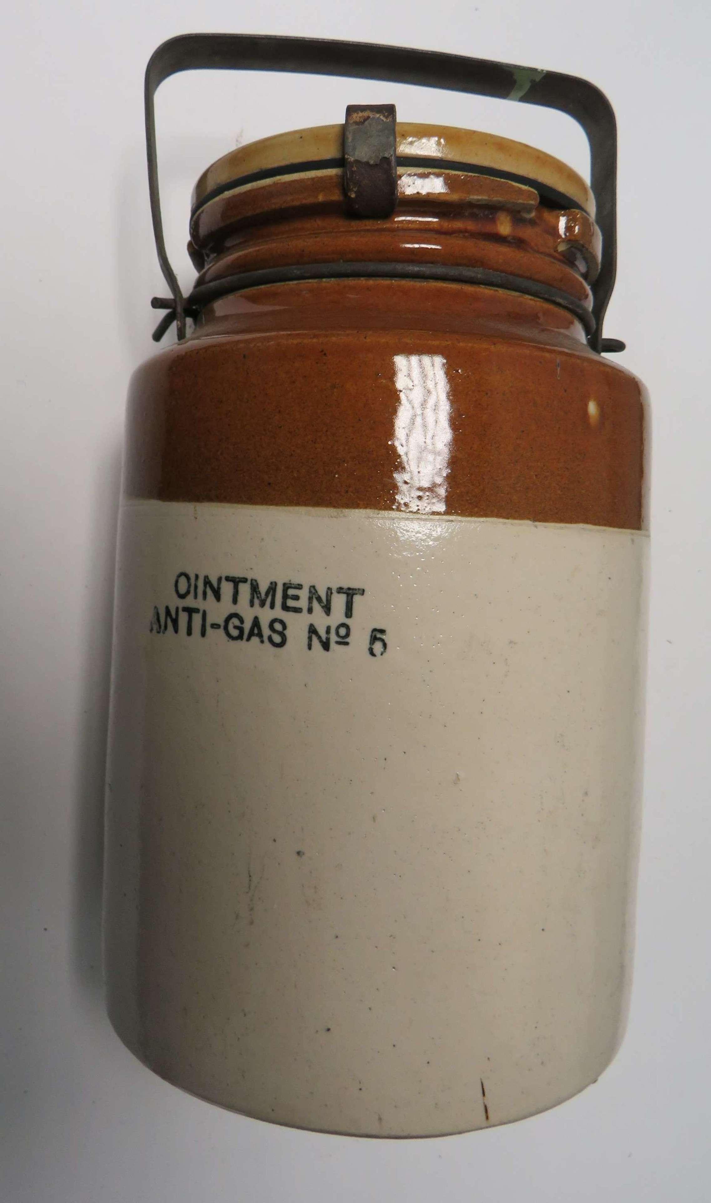 WW2 Anti Gas Ointment Stoneware Jar