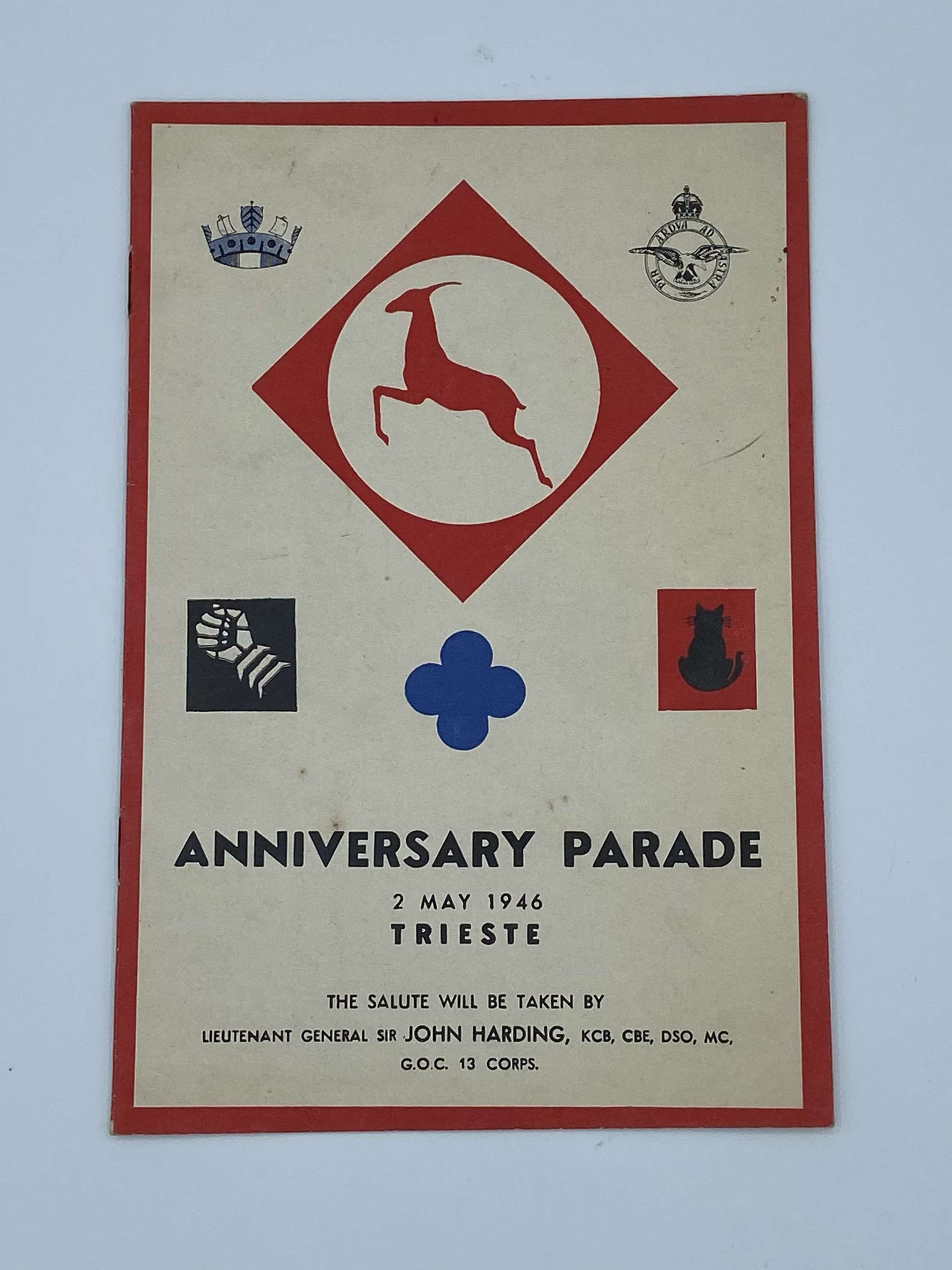 WW2 Anniversary Parade 2nd May 1946 Trieste Booklet