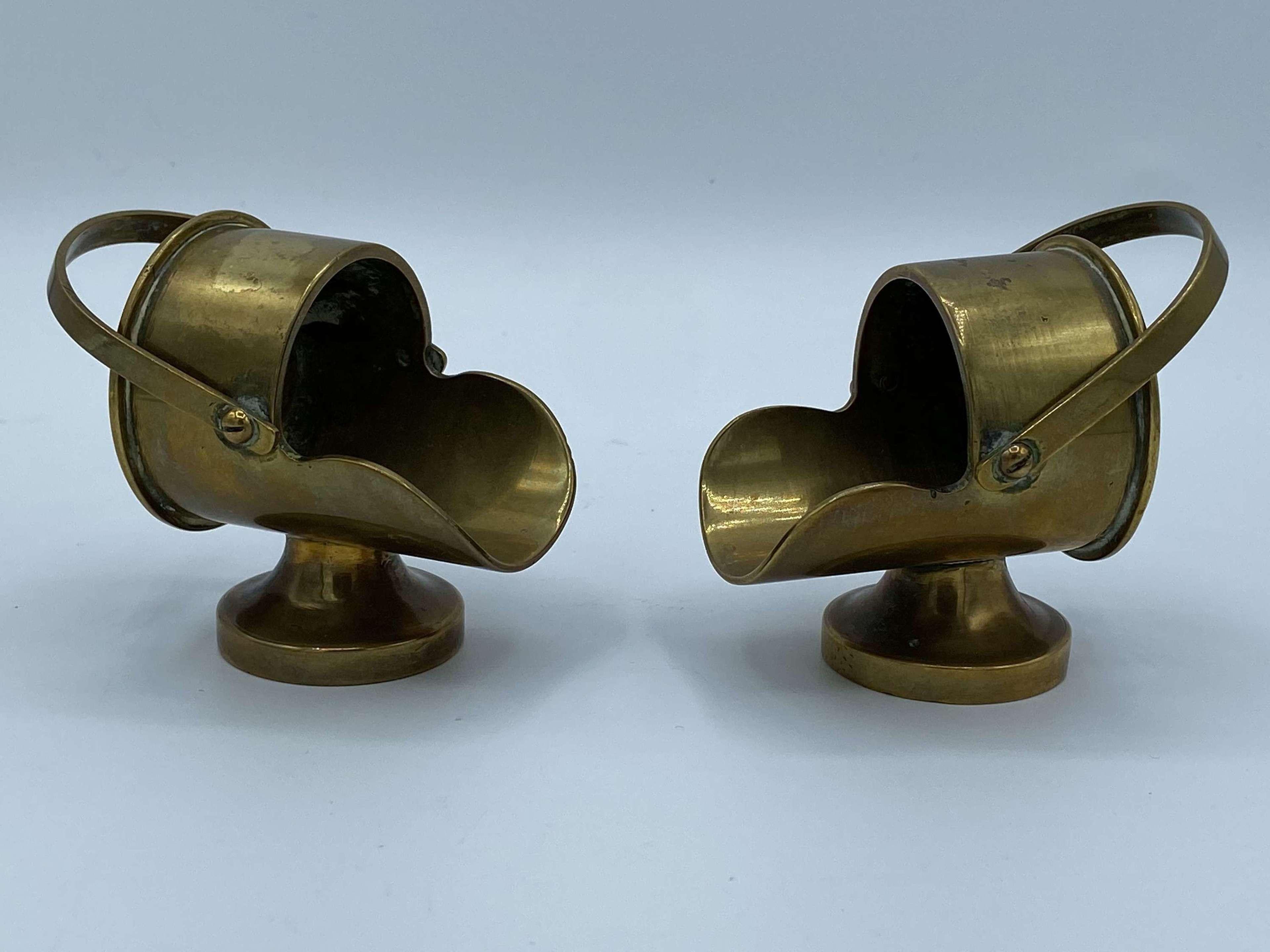 Pair Of WW1 British Brass Trench Art Brass Coal Scuttles