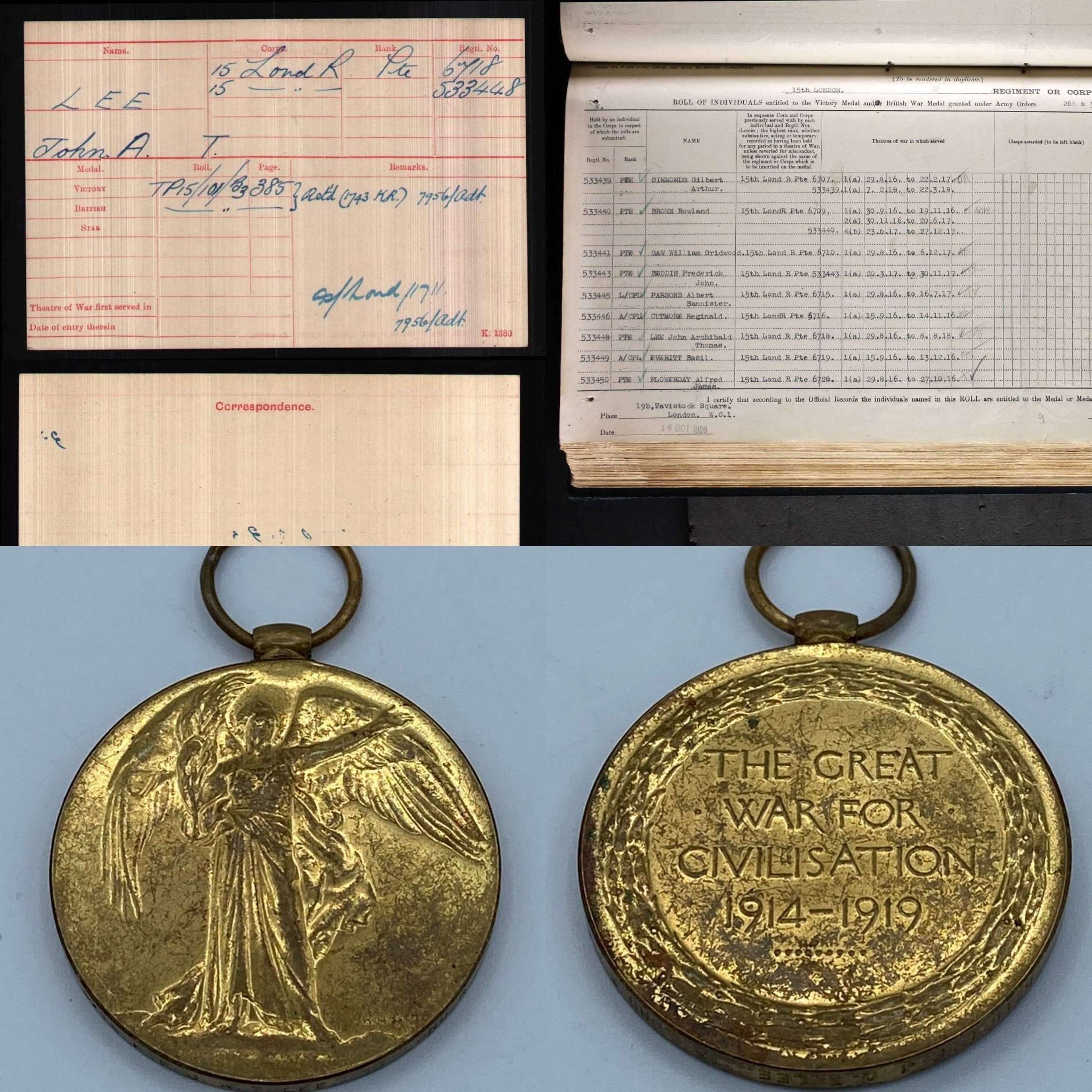WW1 Victory Medal Pte J A T Lee 15th London Regiment Battle Of Cambrai